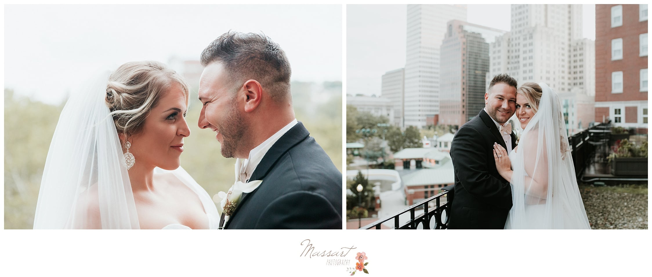 Formal portraits of the bride and groom on the balcony photographed by Massart Photography RI