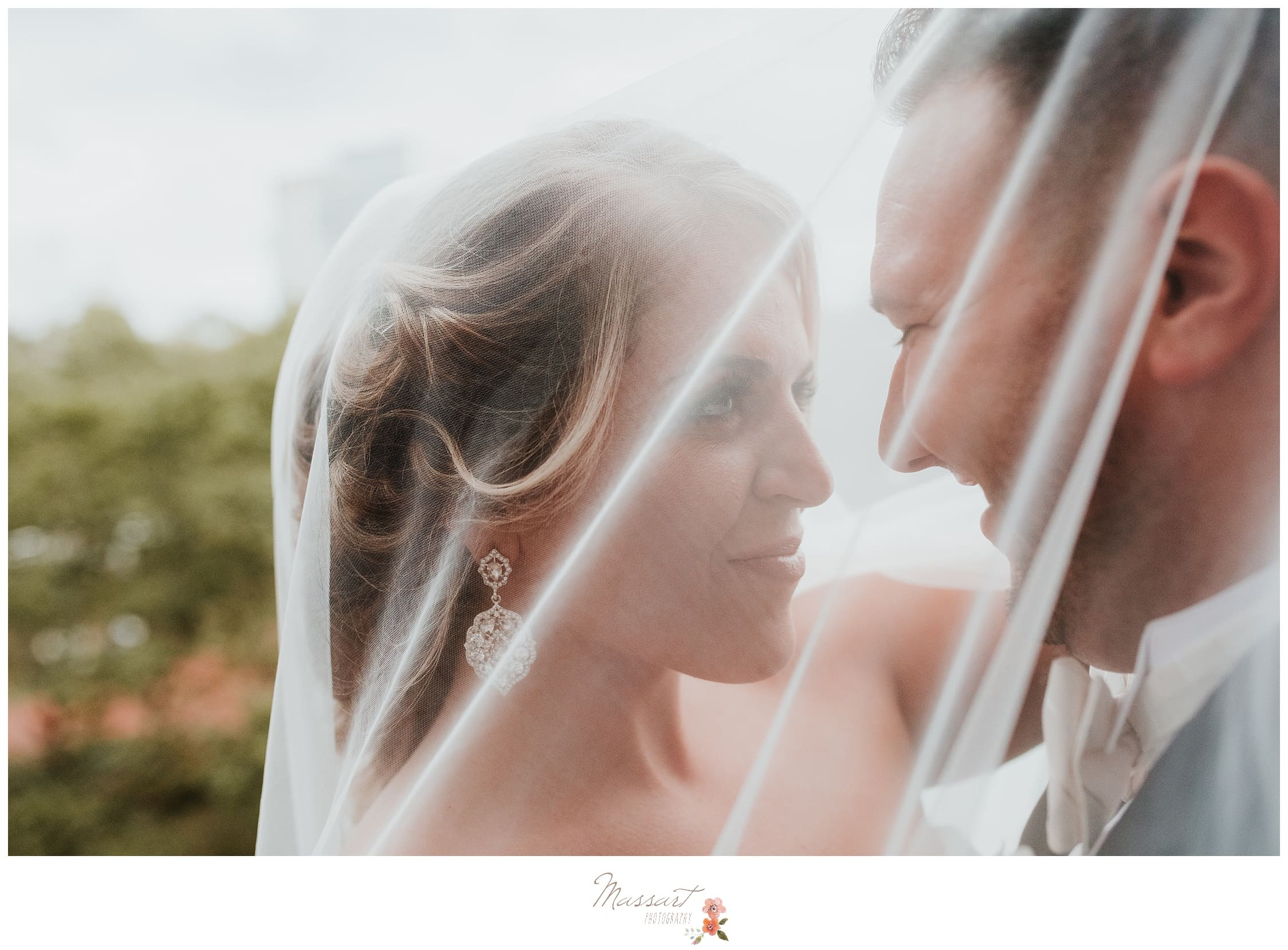 Portraits through the bride's veil photographed by Massart Photography RI