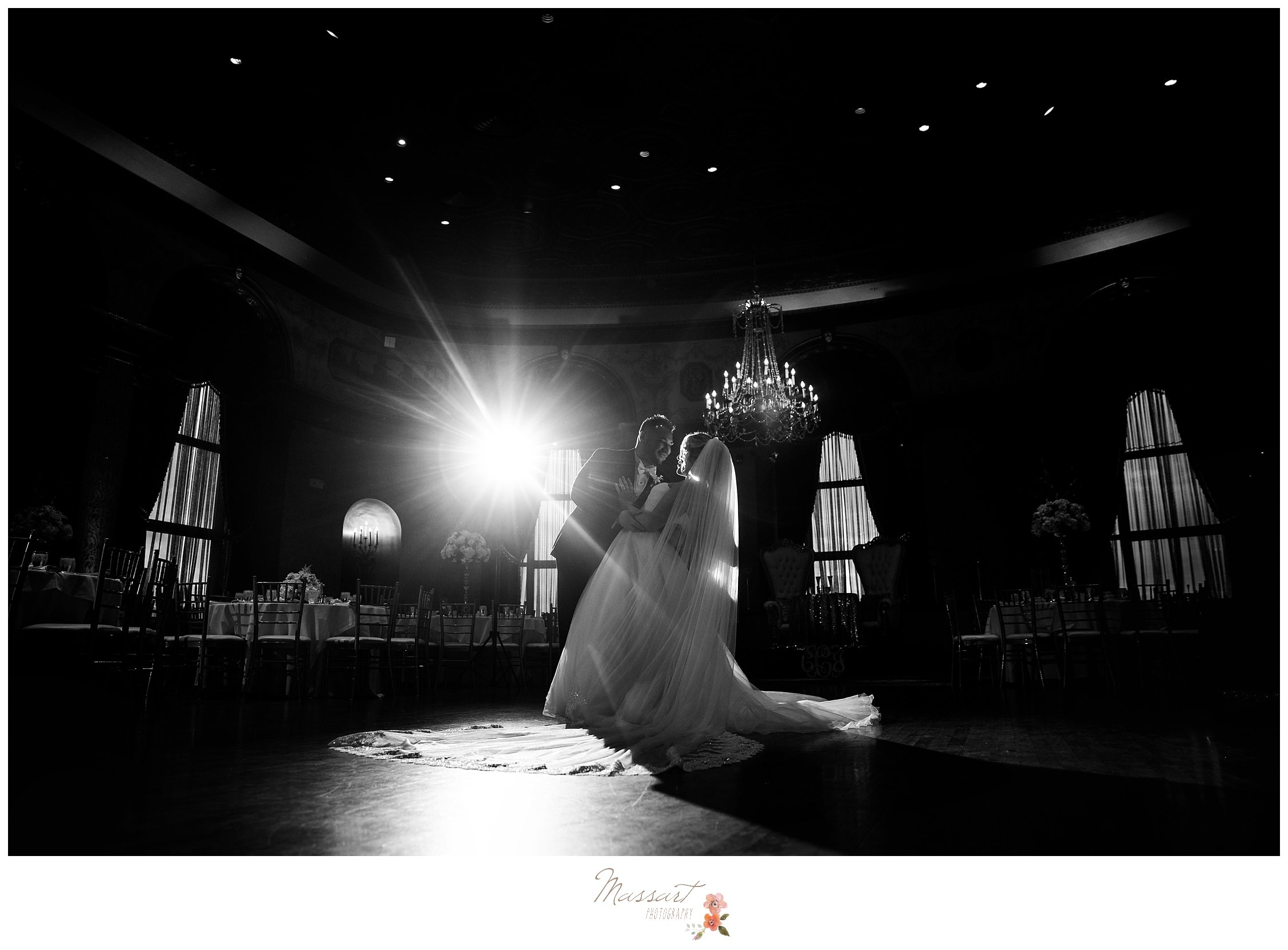 Bride and groom share their first dance as husband and wife photographed by Massart Photography RI