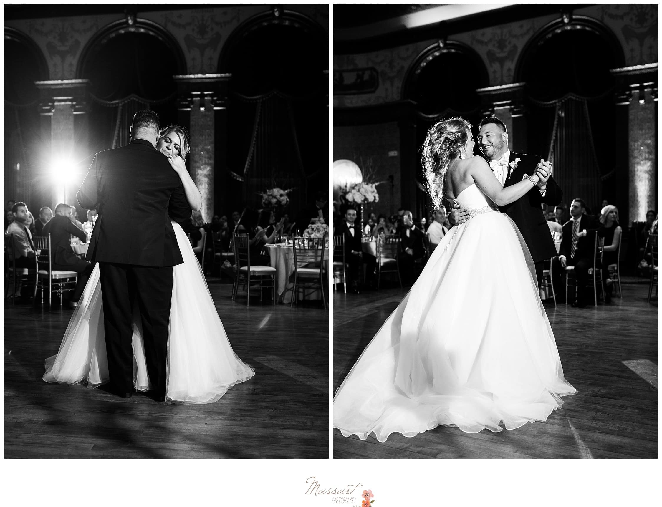 Black and white portraits of the bride and groom's first dance at the Biltmore photographed by Massart Photography RI