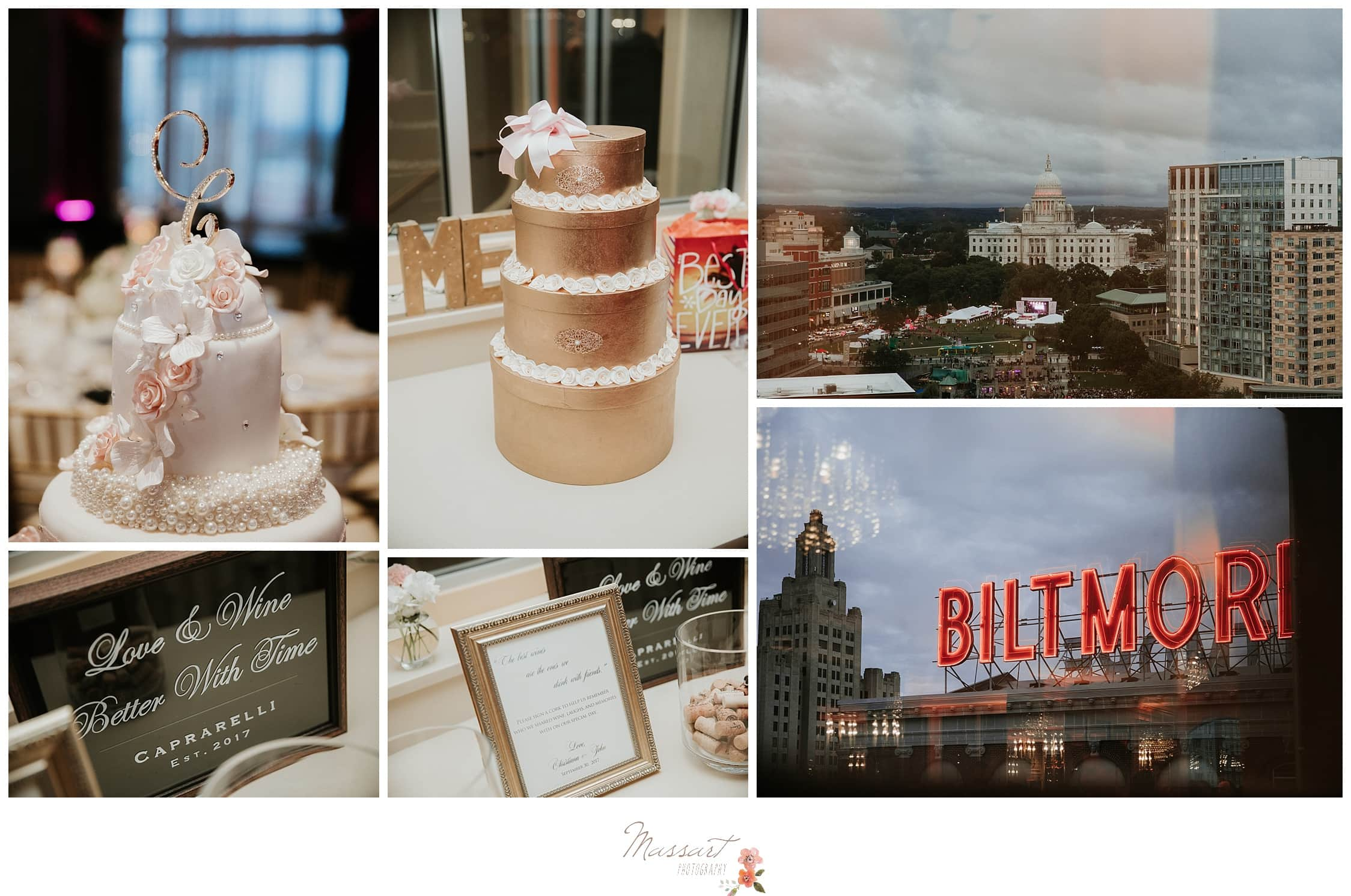 Detail portraits of the reception decor, cake and the Biltmore sign photographed by Massart Photography Rhode Island
