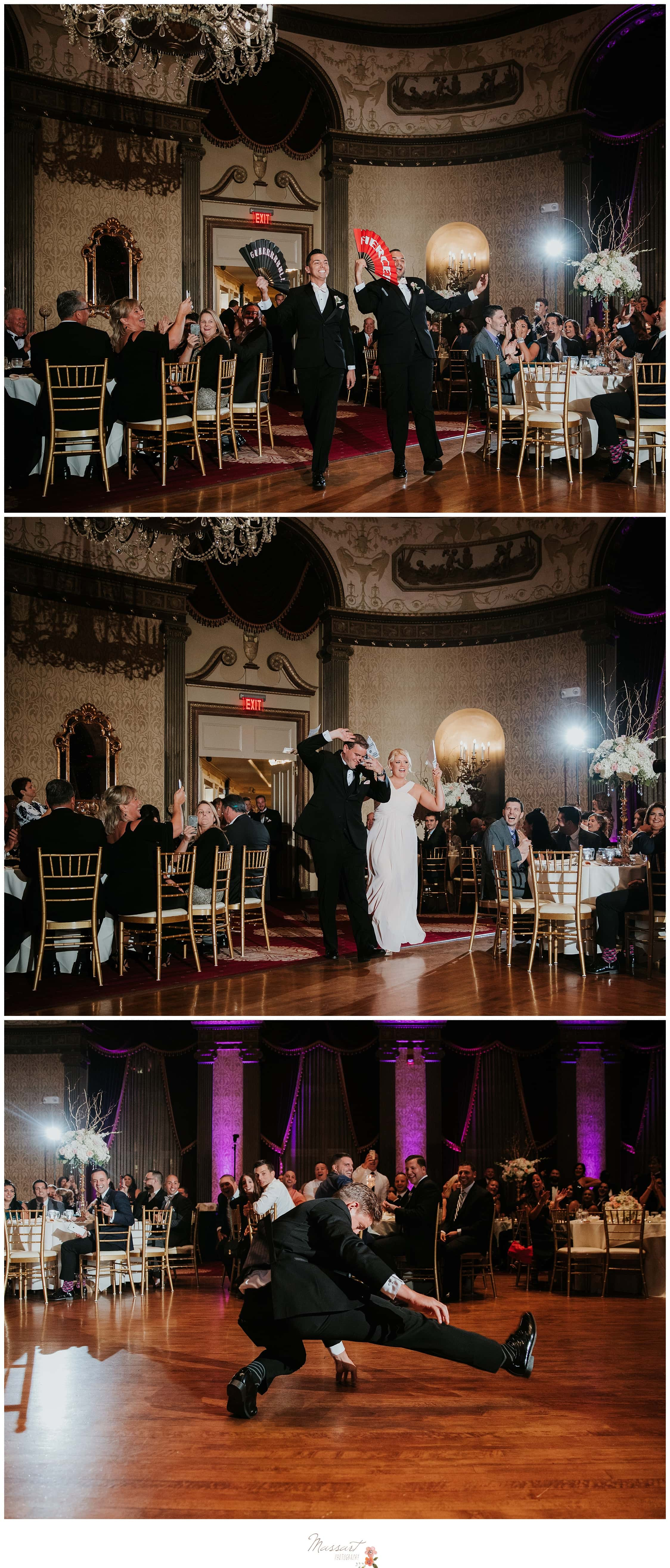 The wedding party enters the reception at the Biltmore photographed by Massart Photography RI