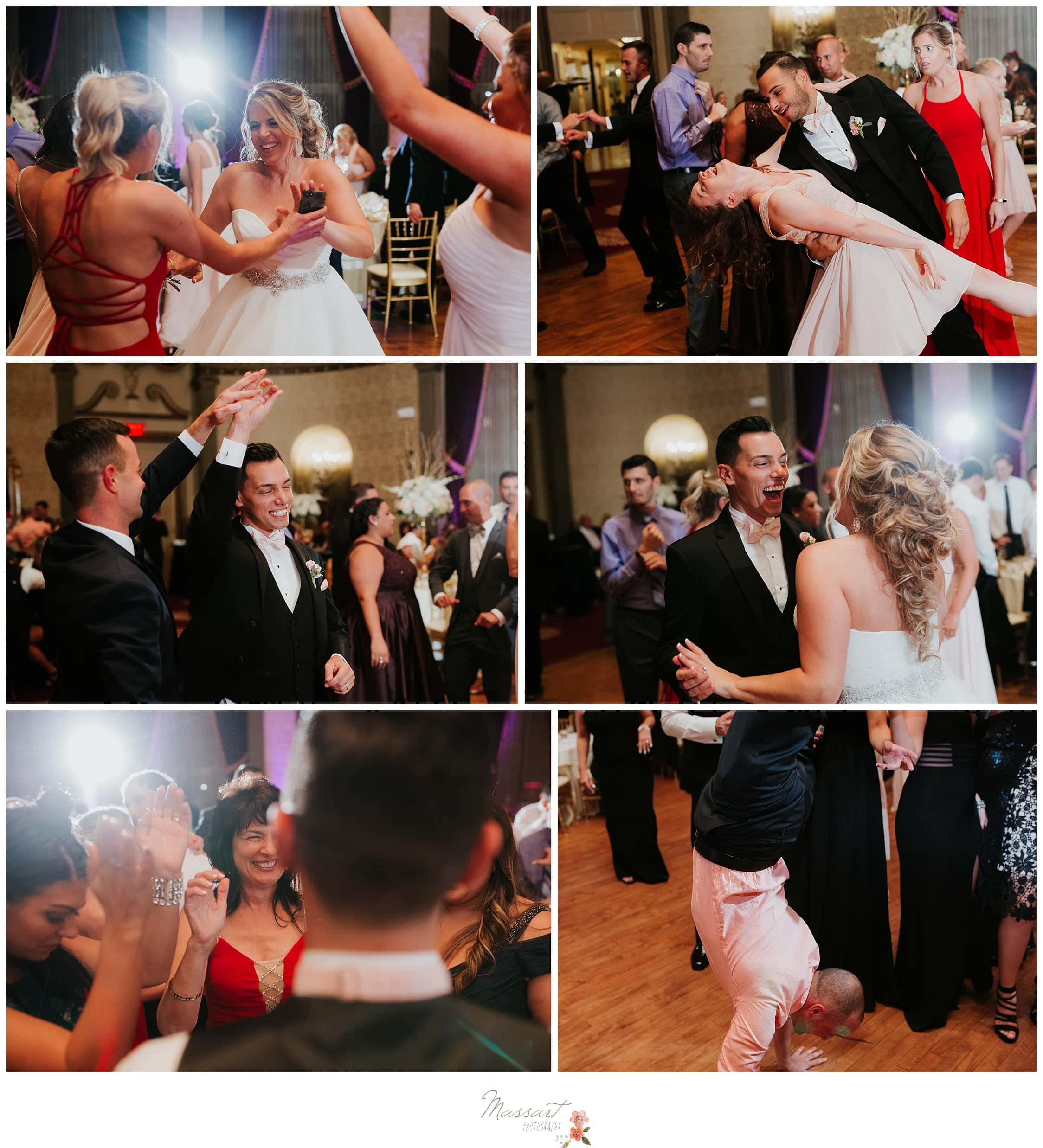 Wedding guests dance with the newlyweds photographed by Massart Photography Rhode Island