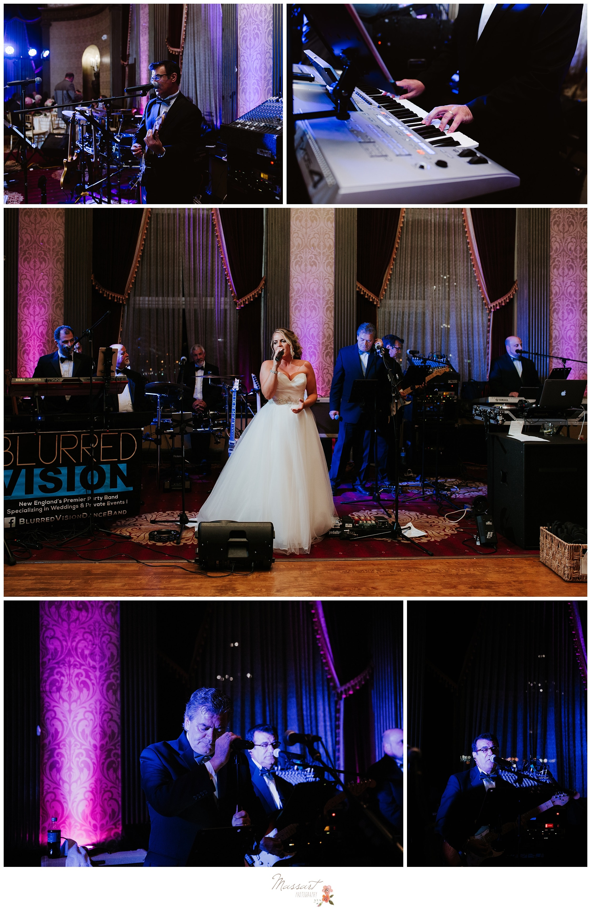 Bride sings during her wedding reception at the Biltmore photographed by Massart Photography Rhode Island