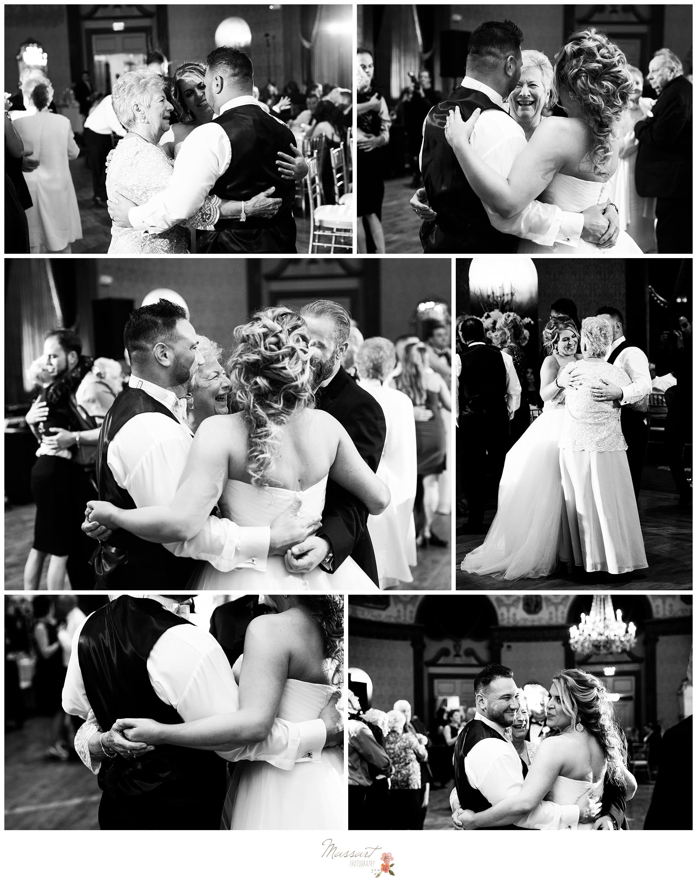Black and white portraits of the wedding guests and the newlyweds singing at the reception photographed by Massart Photography Rhode Island