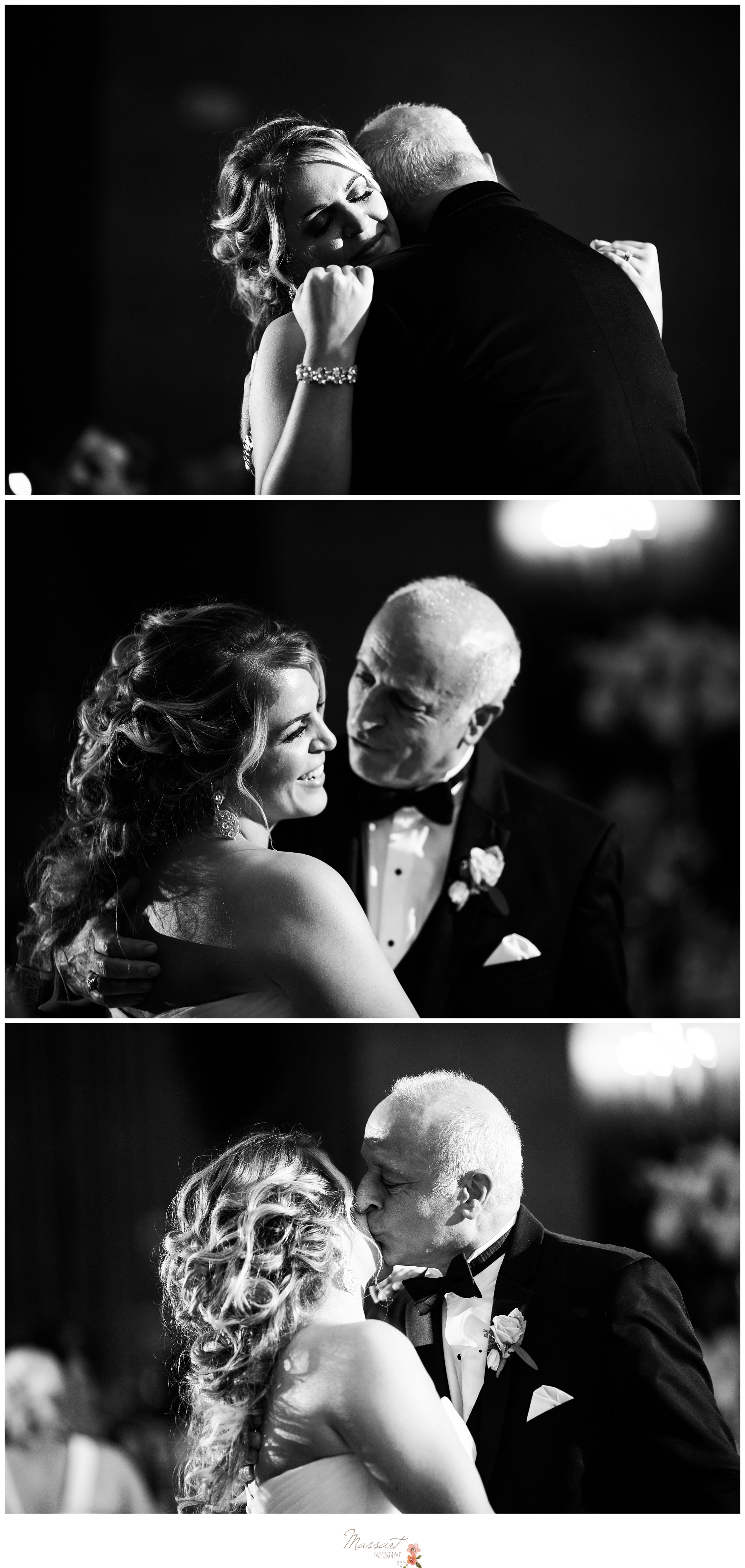 Bride dances with her father during the Biltmore wedding reception photographed by Massart Photography RI