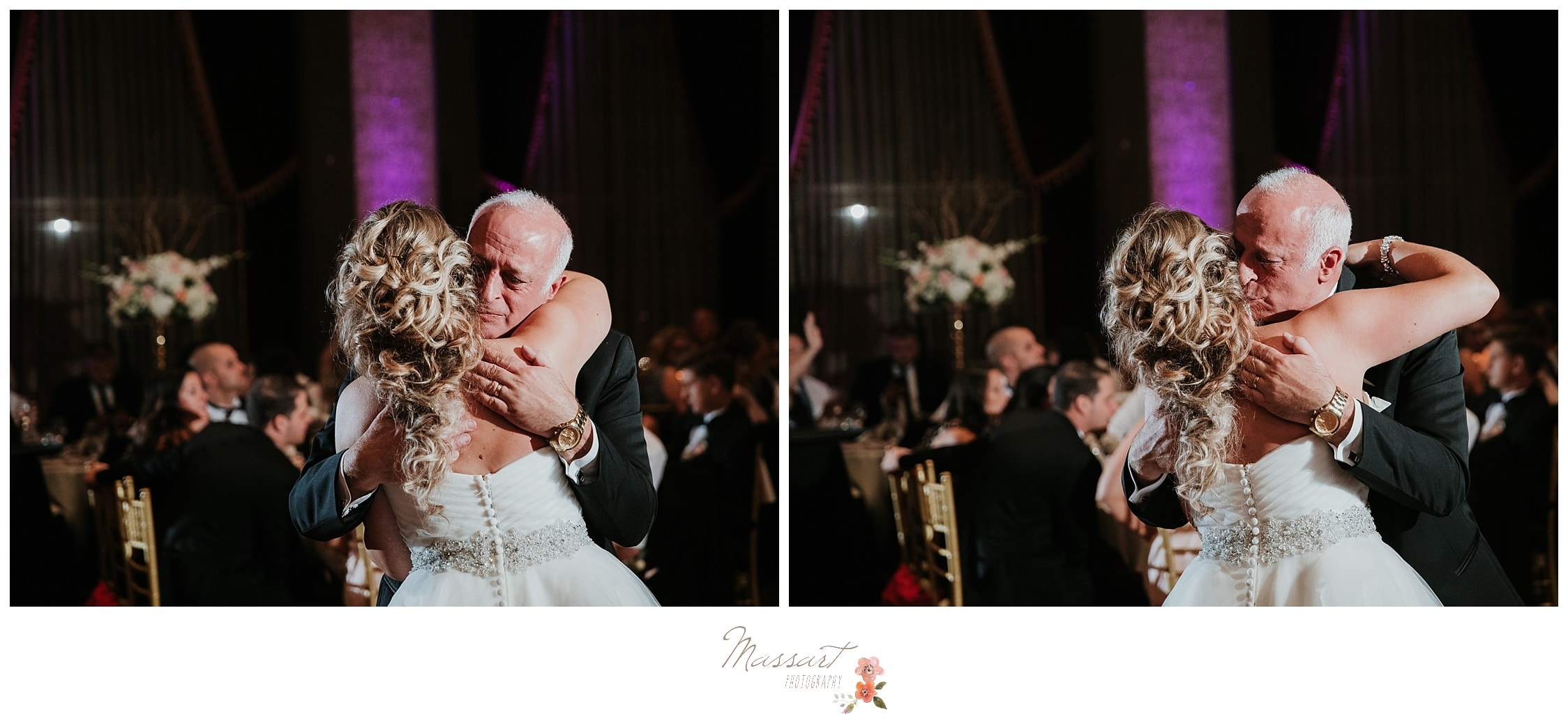 Father and daughter dance during Biltmore wedding reception photographed by Massart Photography RI