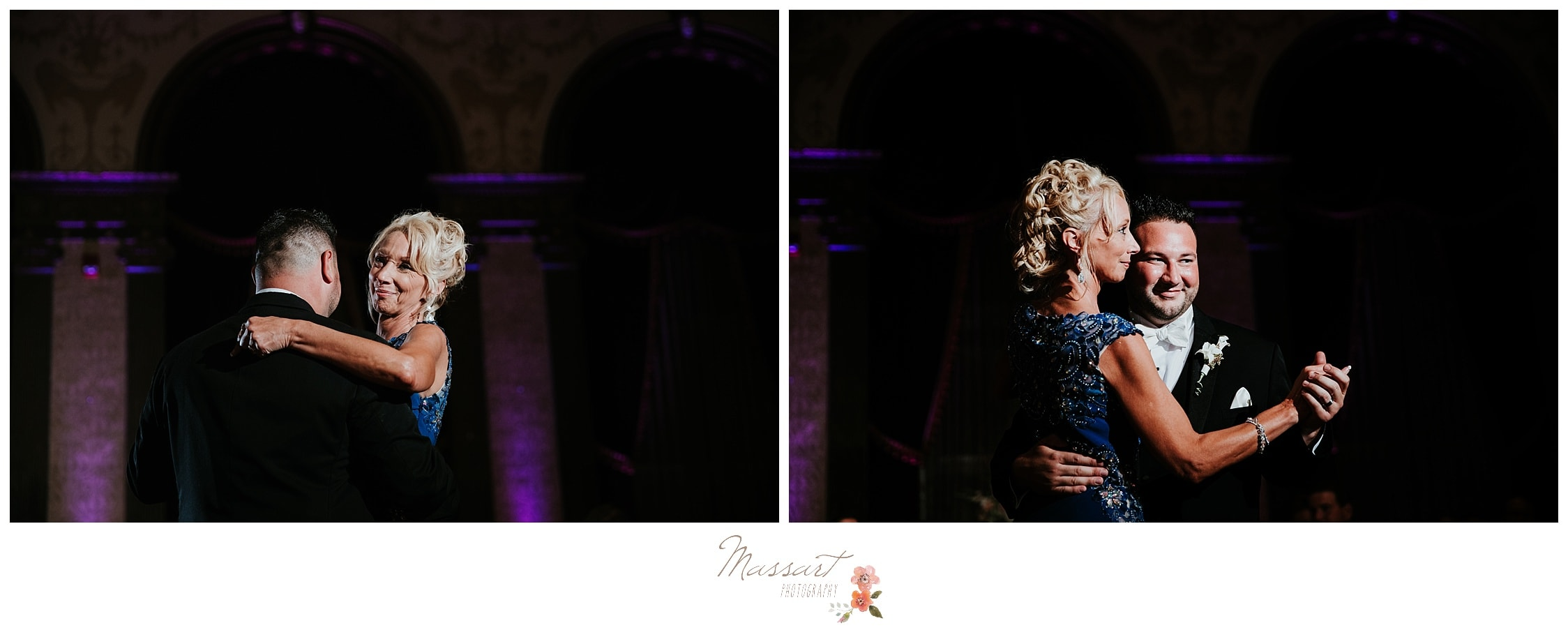 Mother and son dance during wedding reception photographed by Massart Photography RI