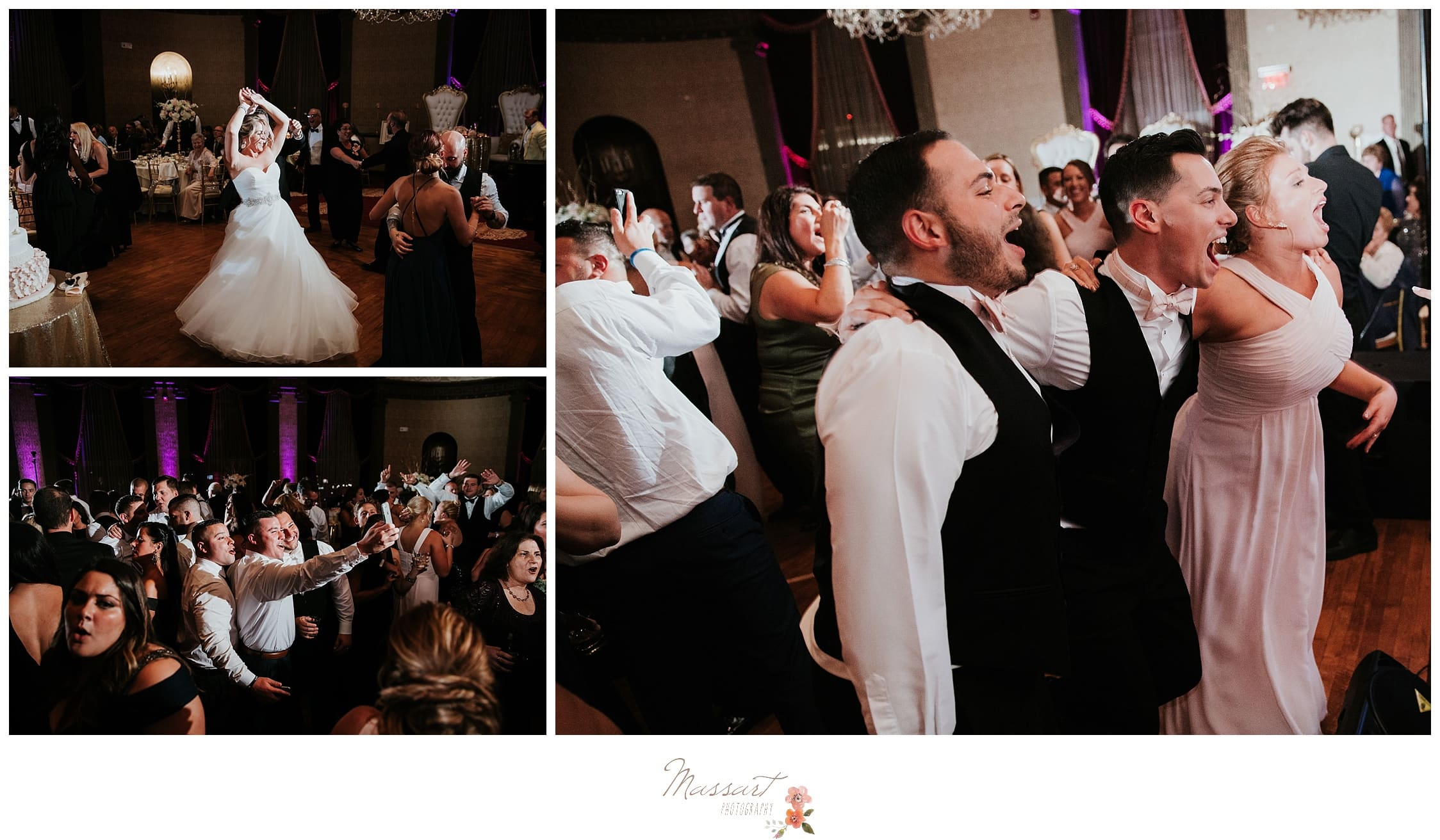 Wedding guests having fun during the Biltmore wedding reception photographed by Massart Photography RI
