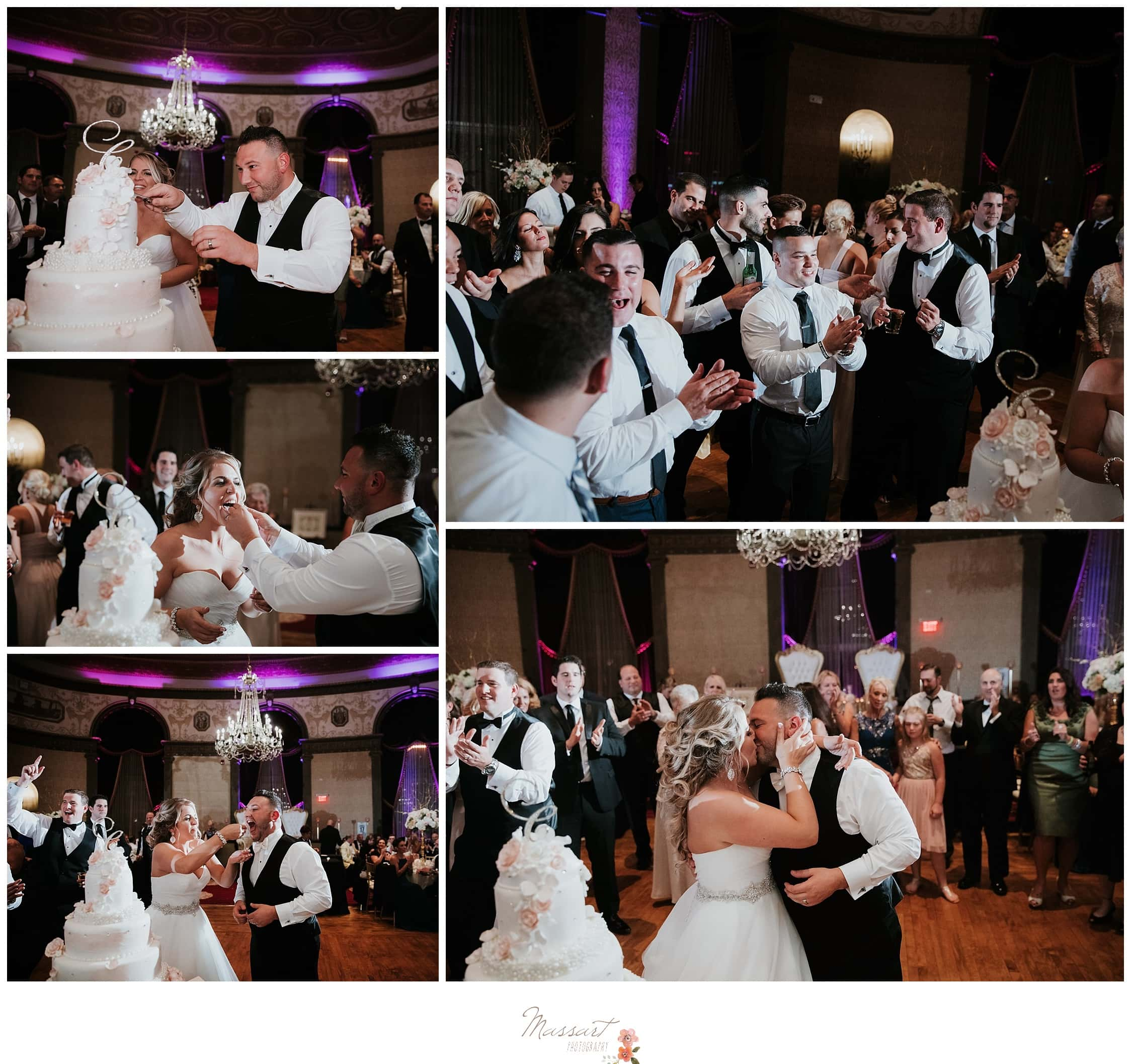 Bride and groom cut the cake during wedding reception photographed by Massart Photography RI