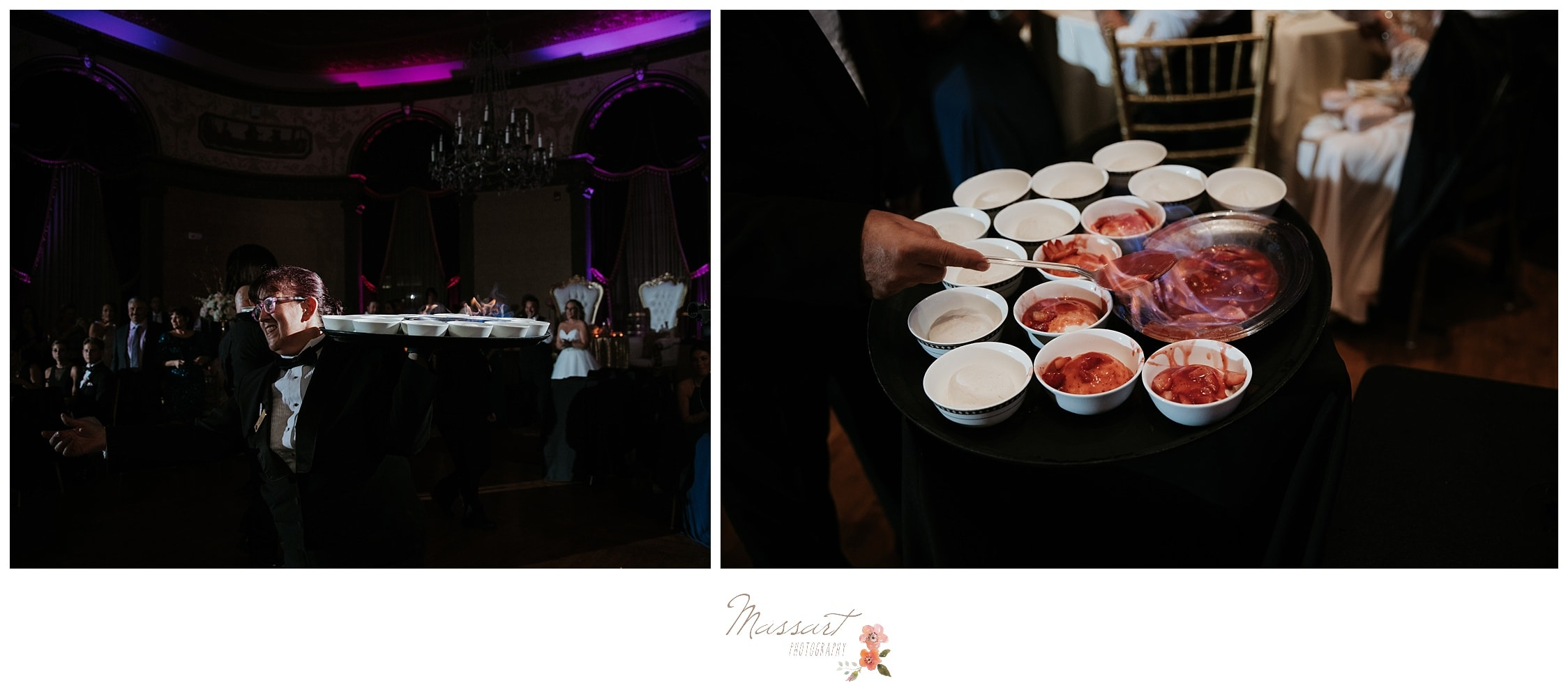 Food being served at the Biltmore wedding reception photographed by Massart Photography RI