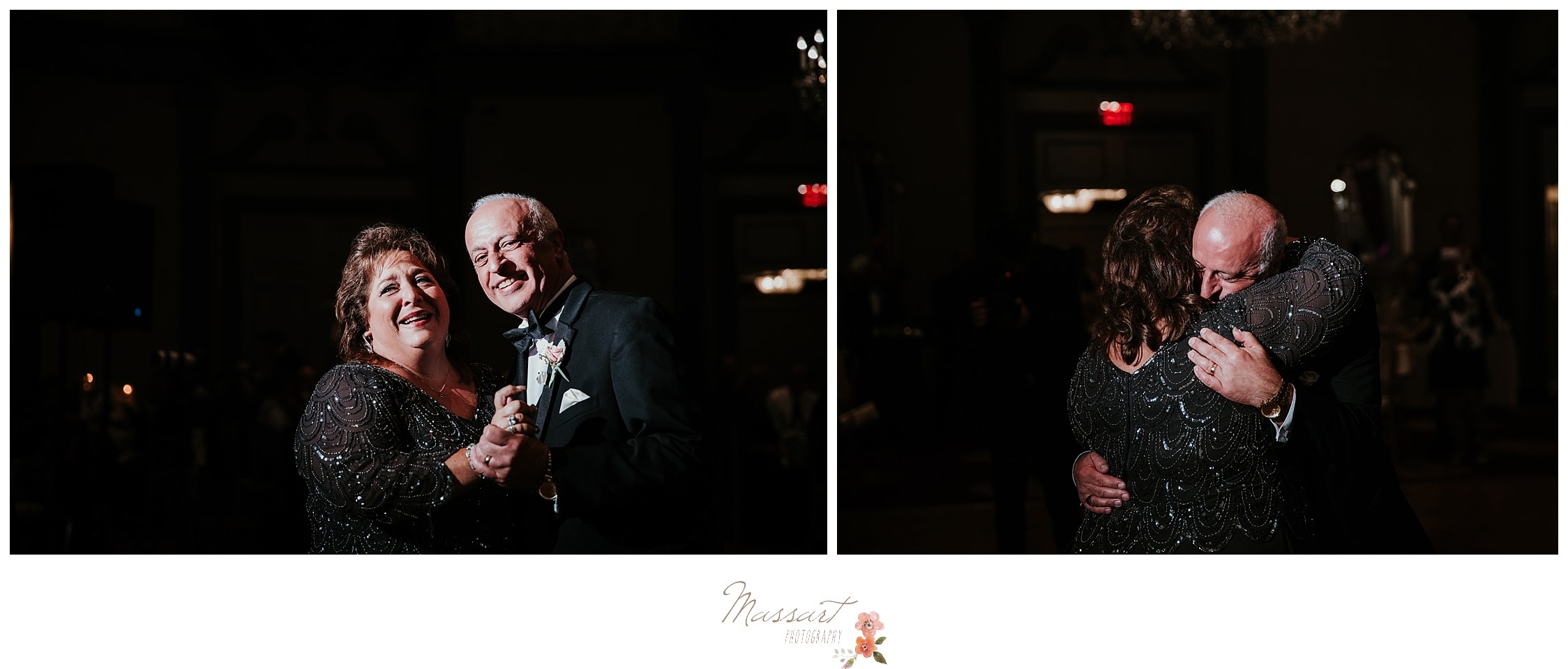 The parents of the bride share an emotional dance during their daughter's Biltmore wedding reception photographed by Massart Photography RI