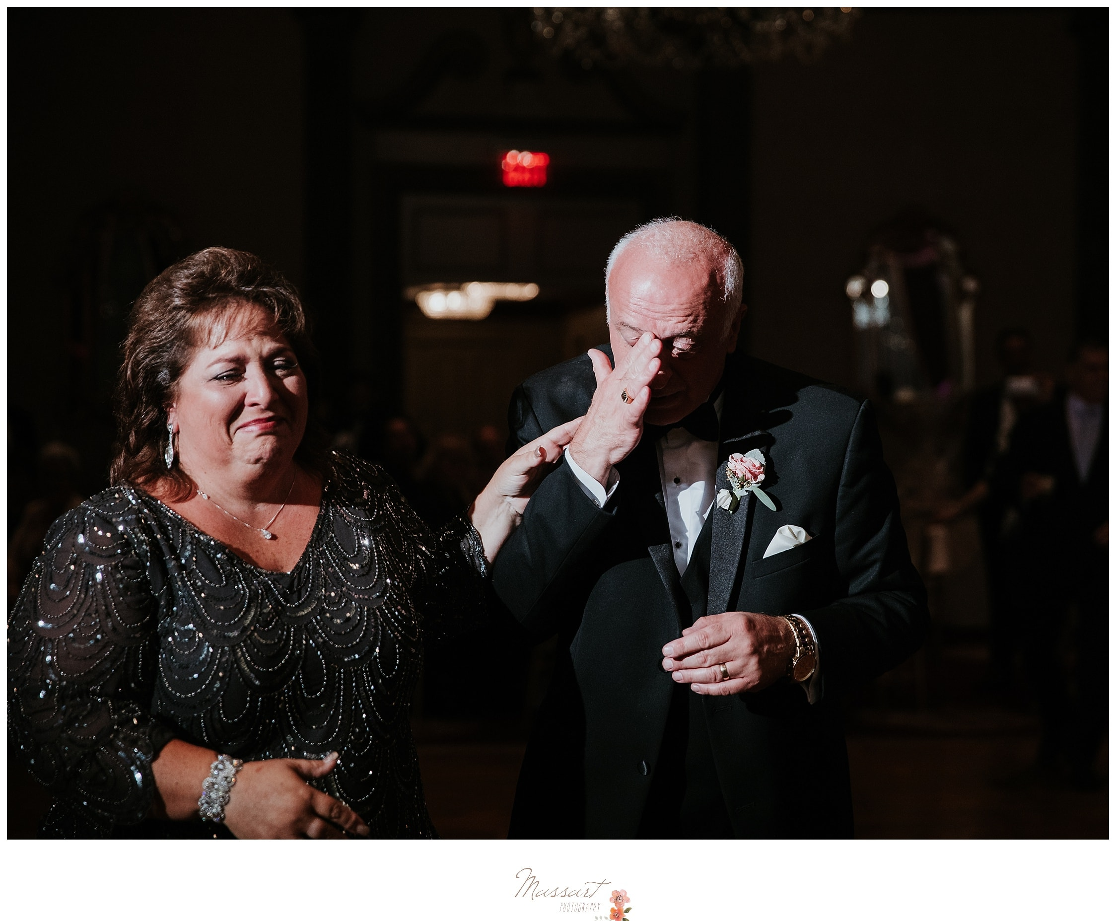 Father of the bride gets emotional at his daughter's wedding reception photographed by Massart Photography RI