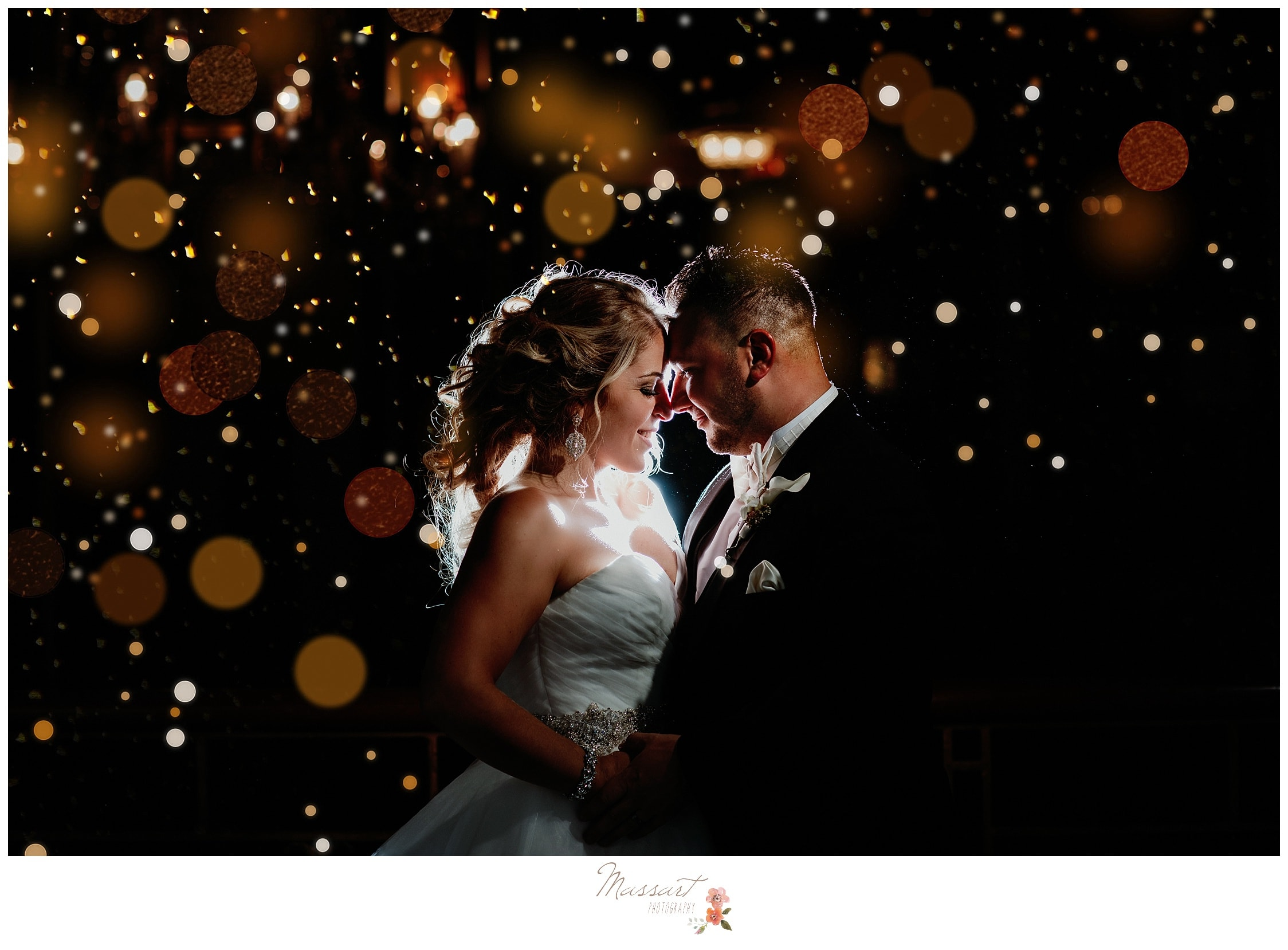 Romantic twinkly lights surround the newlyweds after their Biltmore wedding reception photographed by Massart Photography Rhode Island