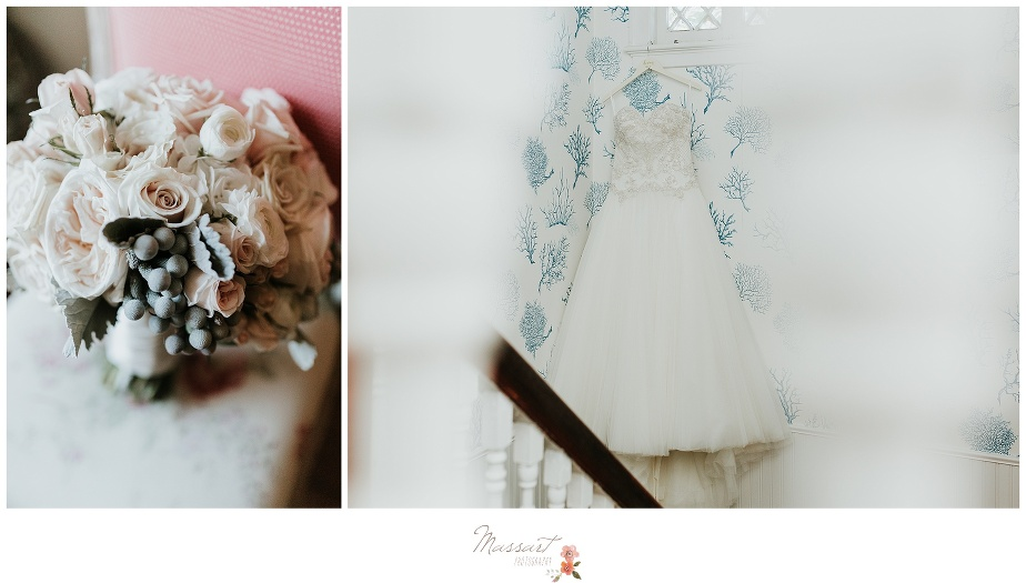 Bride's bouquet and the wedding dress hung up photographed by Massart Photography Rhode Island