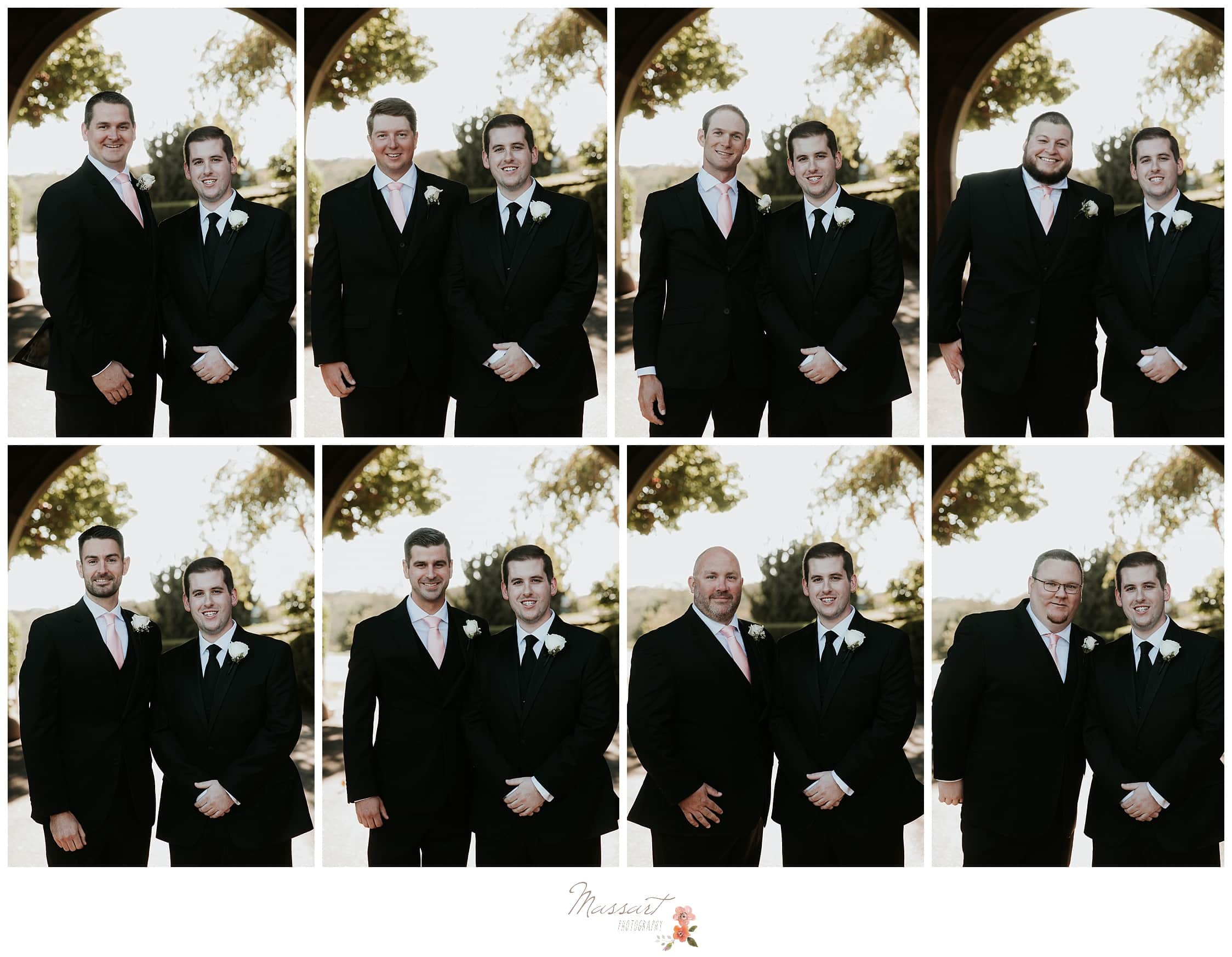 Portraits of the groom with each of his groomsmen photographed by Massart Photography Rhode Island