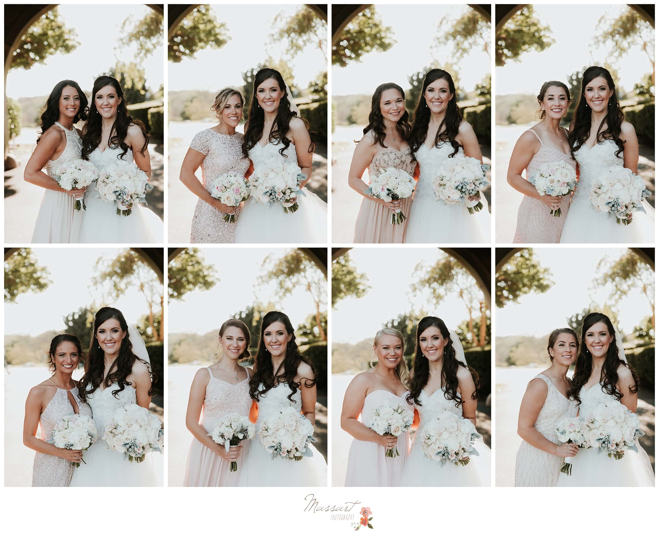 Bride with each of her bridesmaids photographed by Massart Photography RI