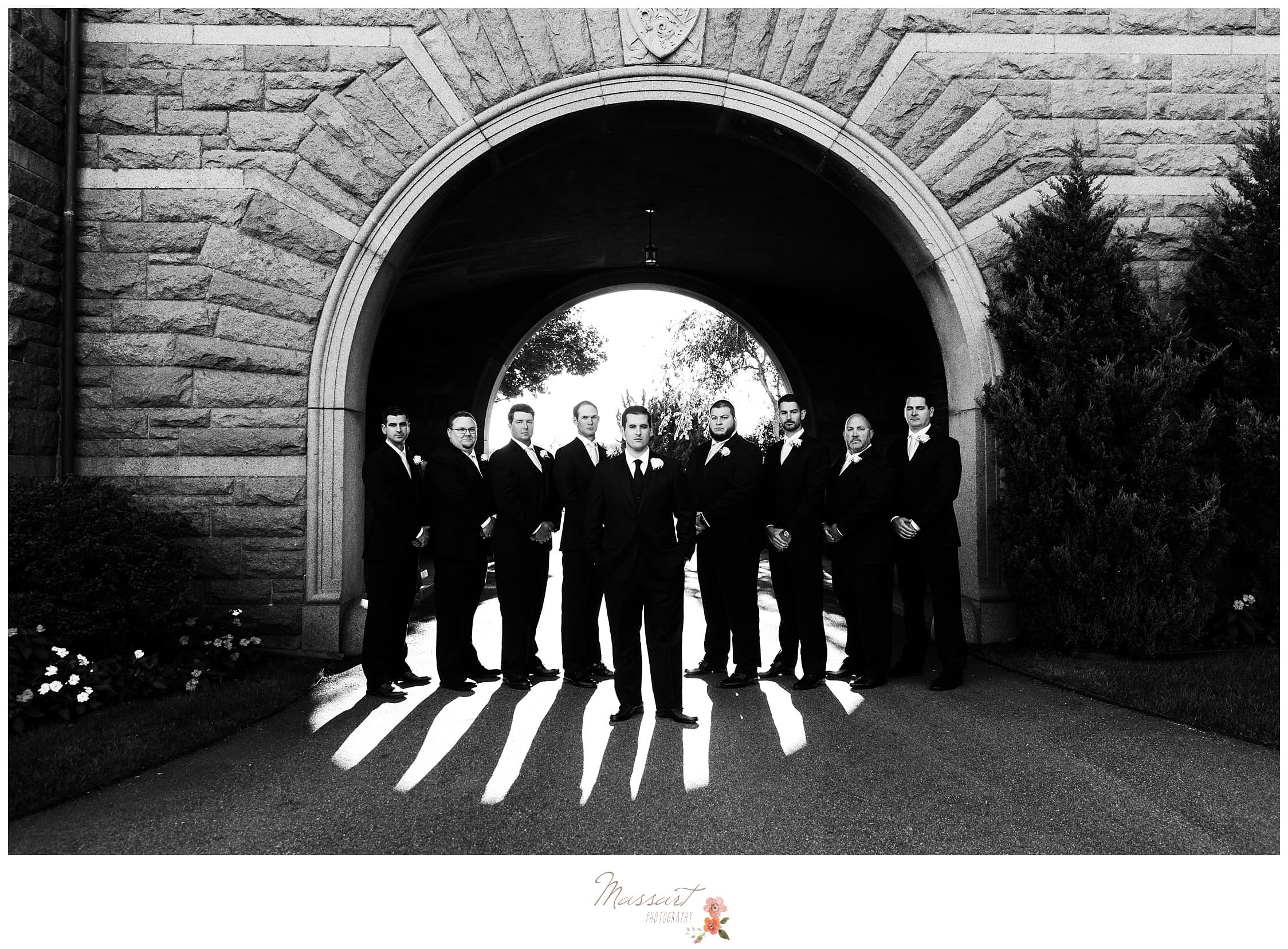 Black and white portrait of the groom and groomsmen photographed by Massart Photography RI