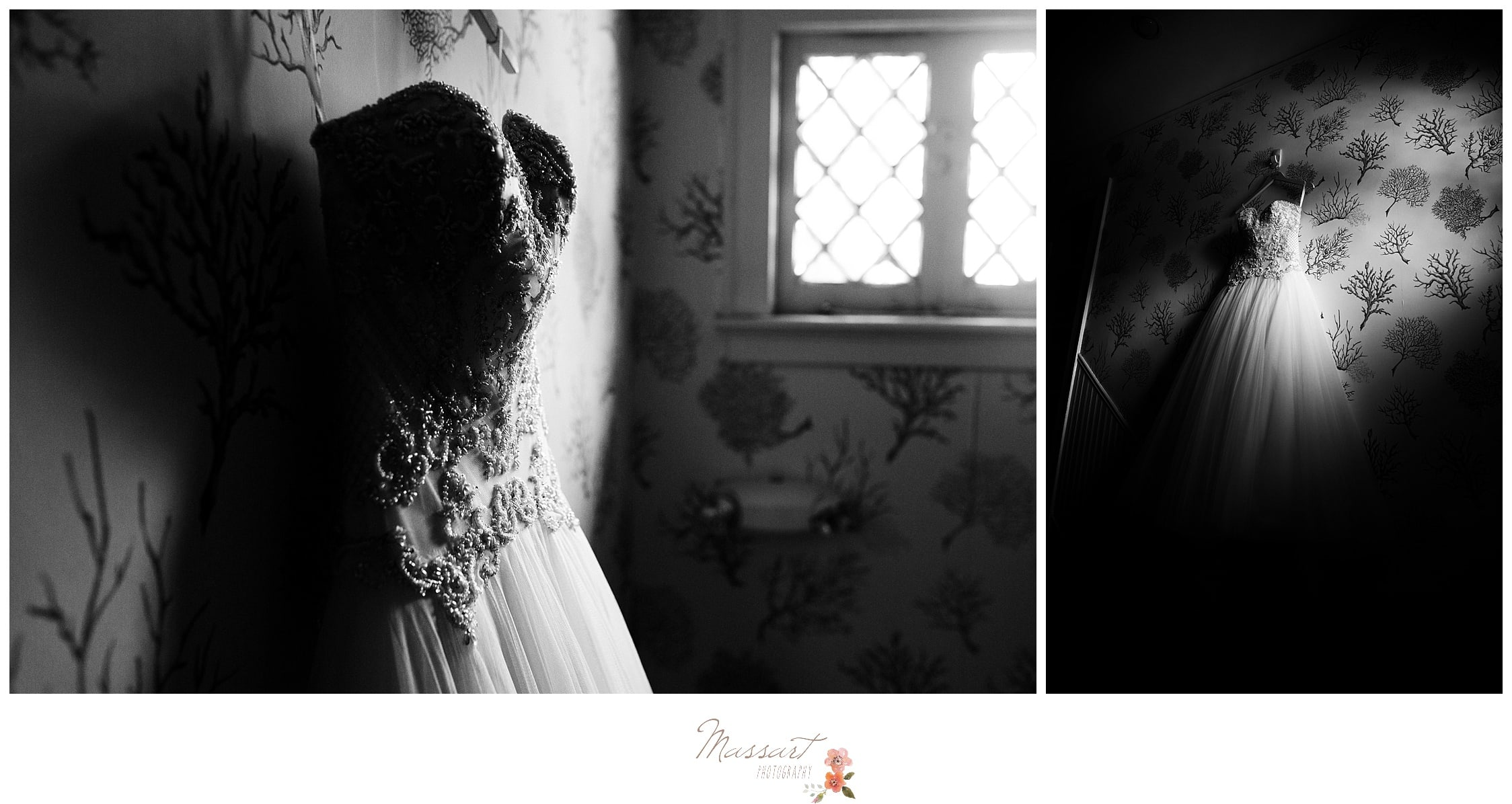 Black and white portraits of the bride's wedding dress hanging photographed by Massart Photography Rhode Island