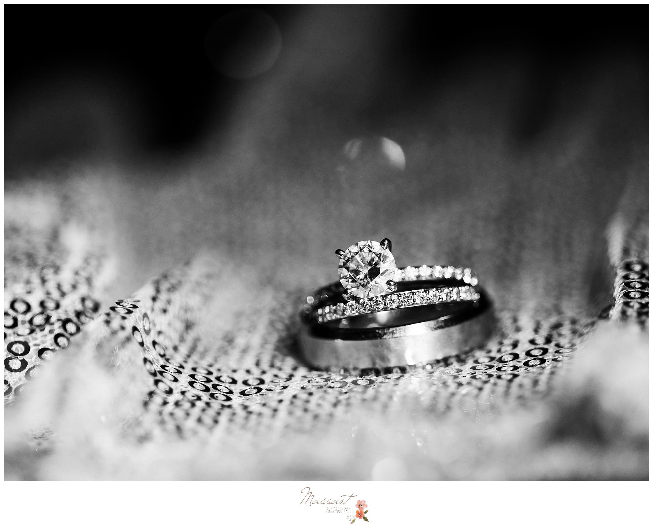 Black and white portrait of the couple's wedding bands photographed by Massart Photography RI