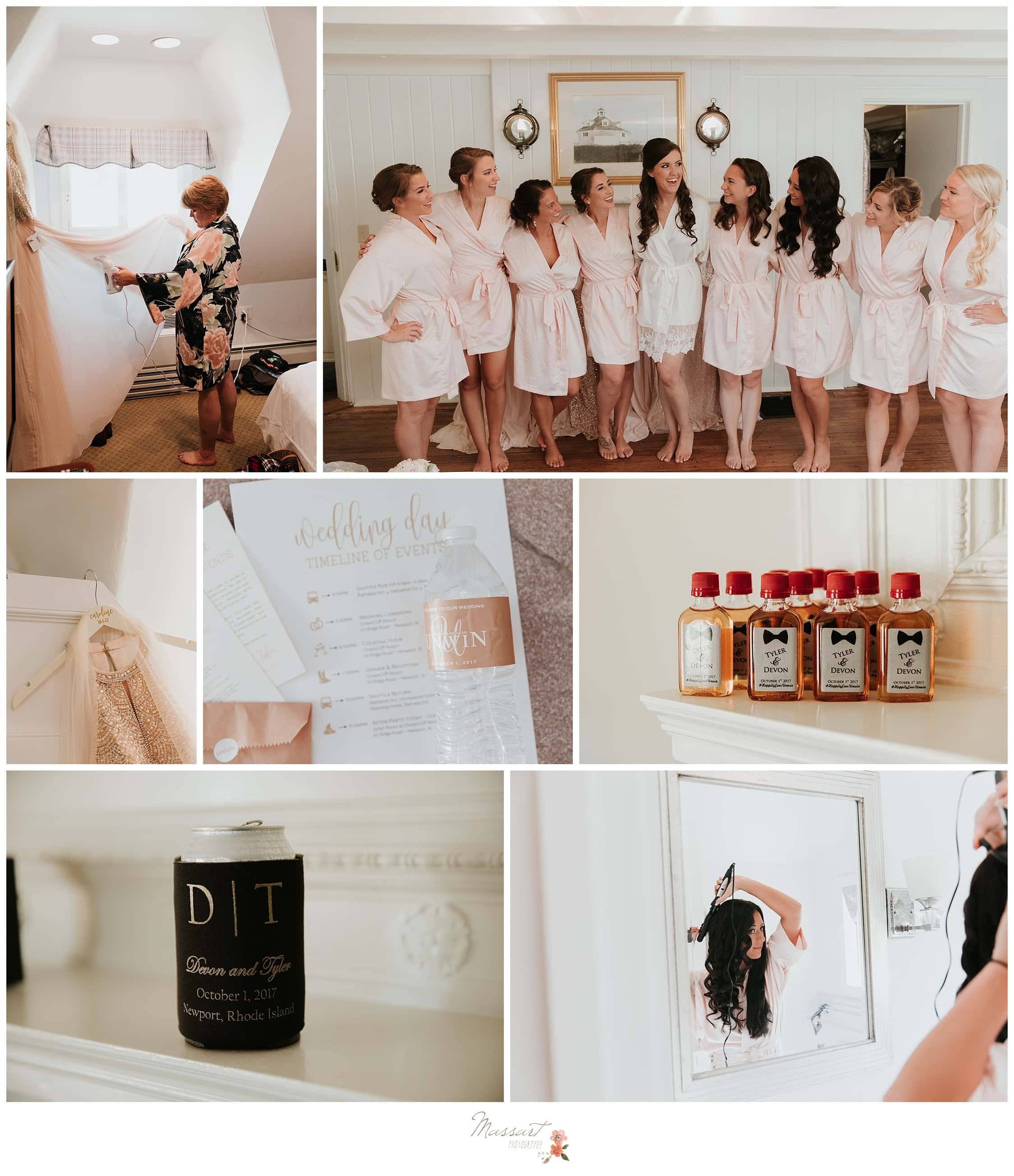 The bride and bridesmaid have fun while getting ready for the Ocean Cliff wedding photographed by Massart Photography RI