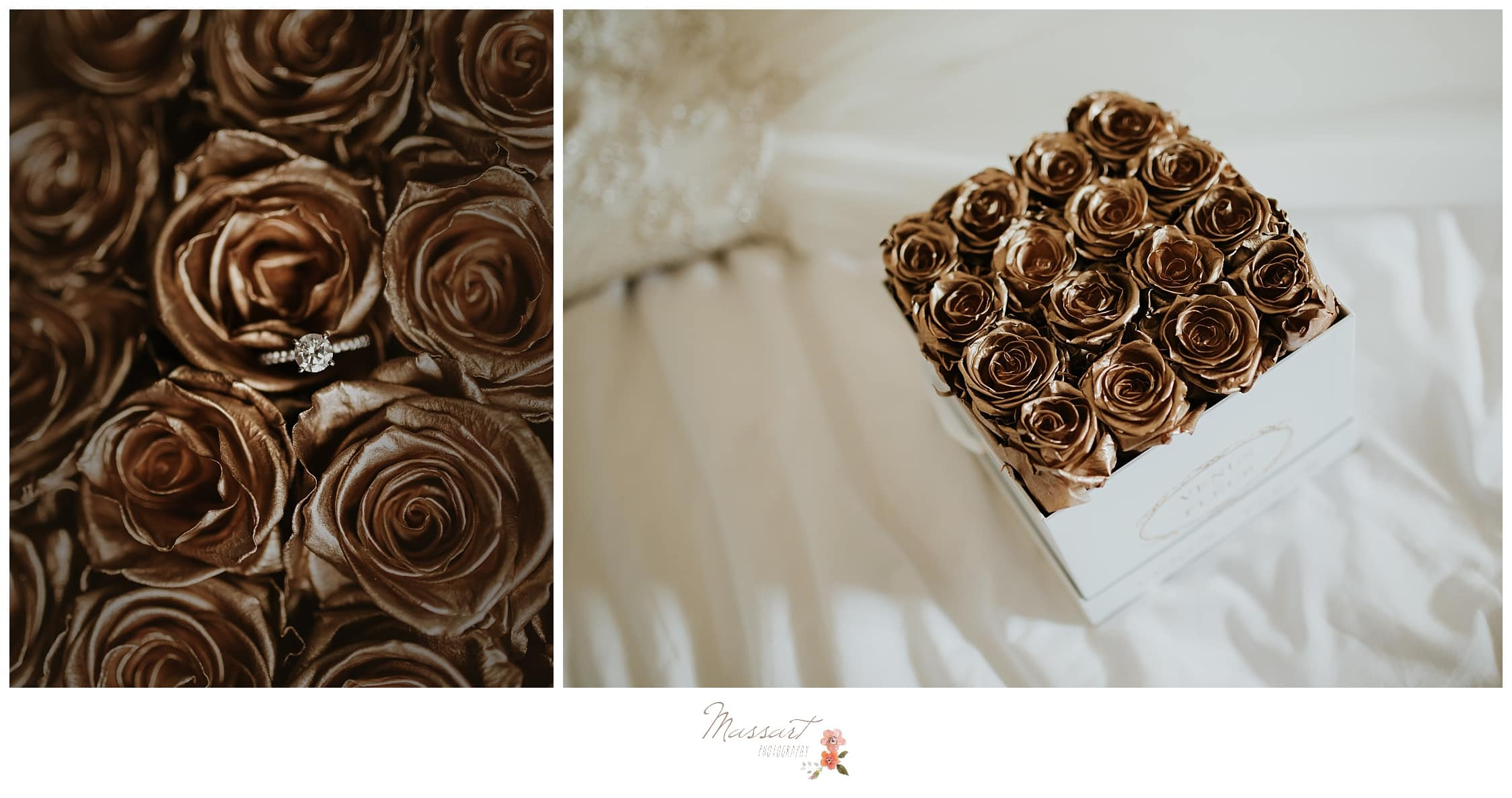 Box of gold roses with the bride's ring photographed by Massart Photography RI