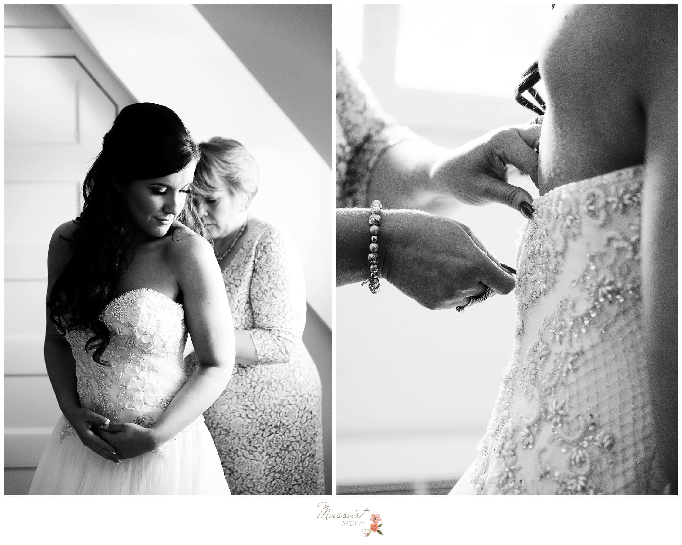 Bride's mother helps her zip up her wedding gown captured by Massart Photography RI