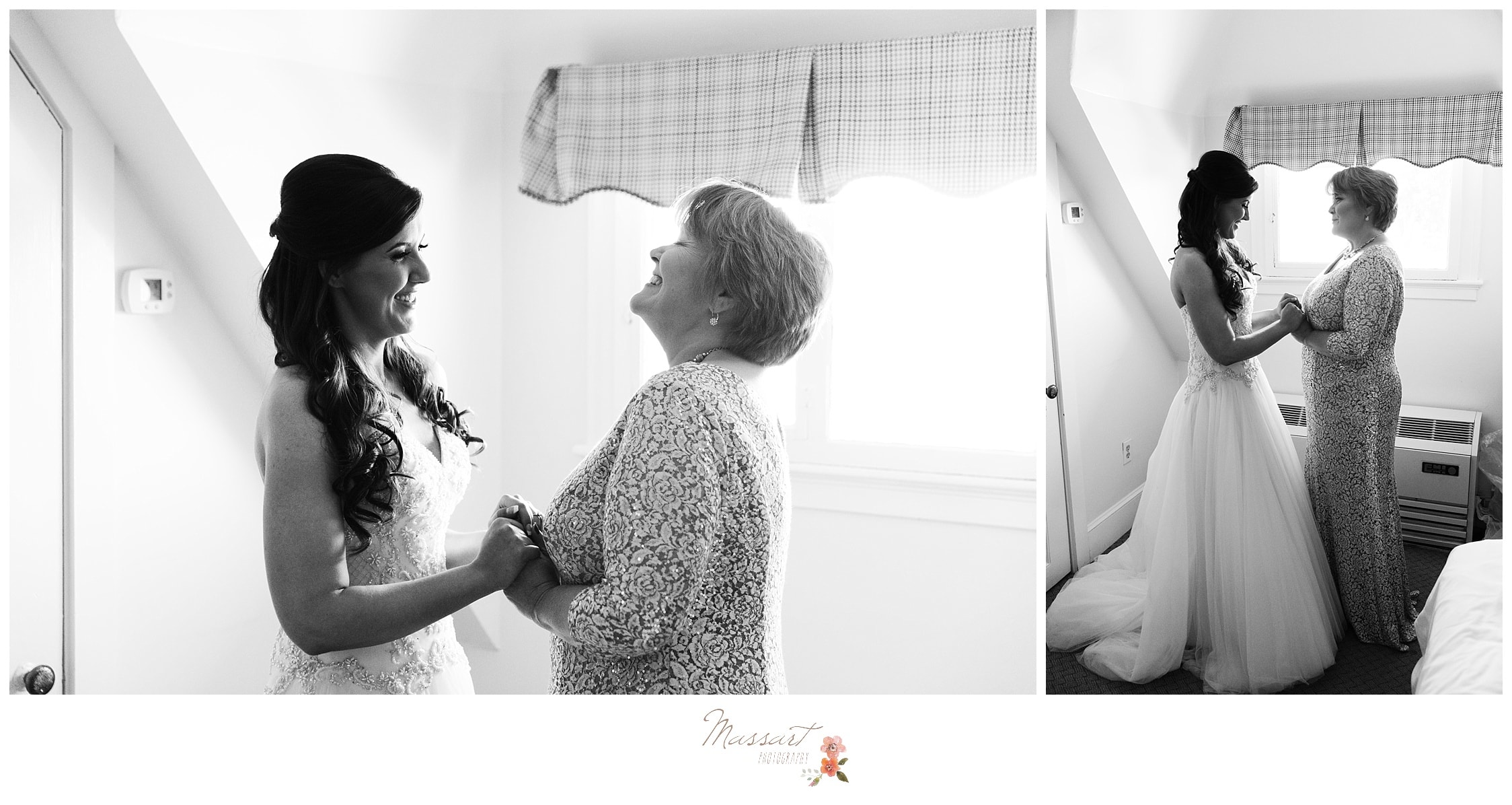 The bride and her mom share an emotional moment together as the bride finishes getting ready for her wedding day photographed by Massart Photography RI