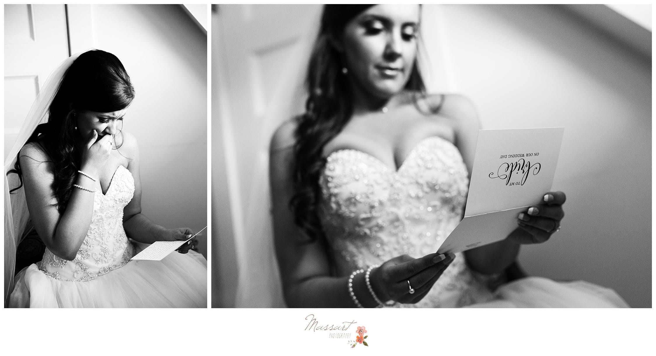 Bride opens a letter from her groom just before wedding ceremony photographed by Massart Photography Rhode Island