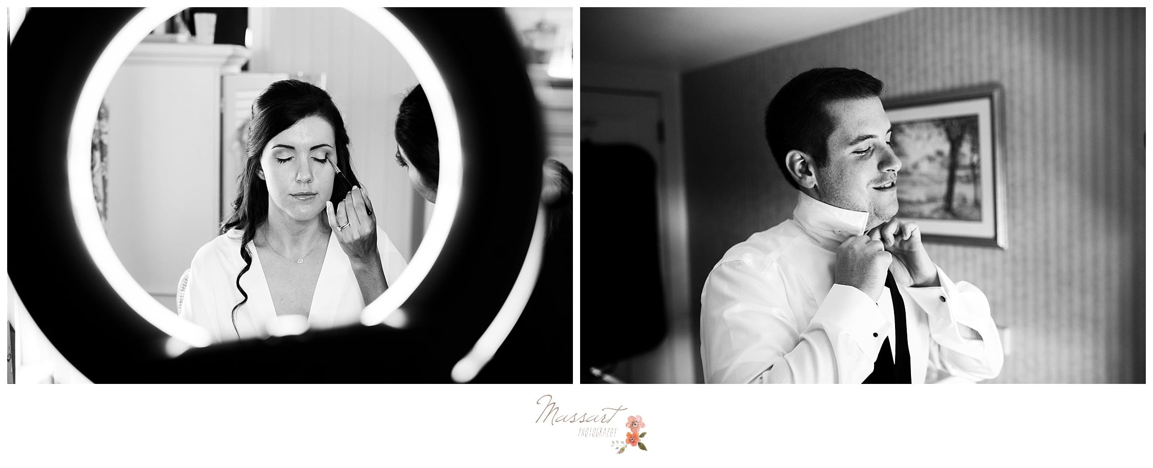 The bride and groom both get ready for their wedding day photographed by Massart Photography Rhode Island