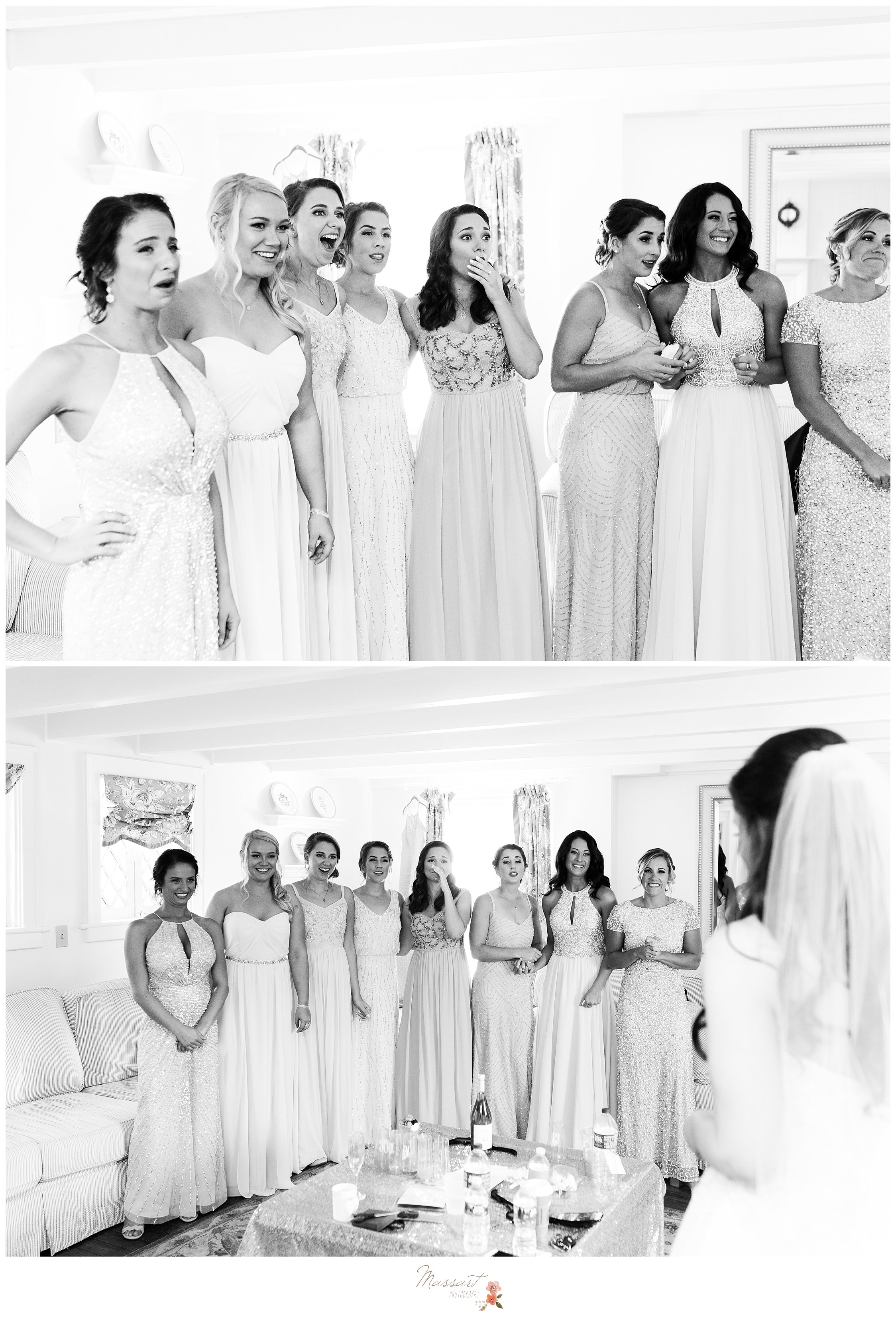Bridesmaids have an emotional reaction to seeing the bride in her wedding gown photographed by Massart Photography Rhode Island