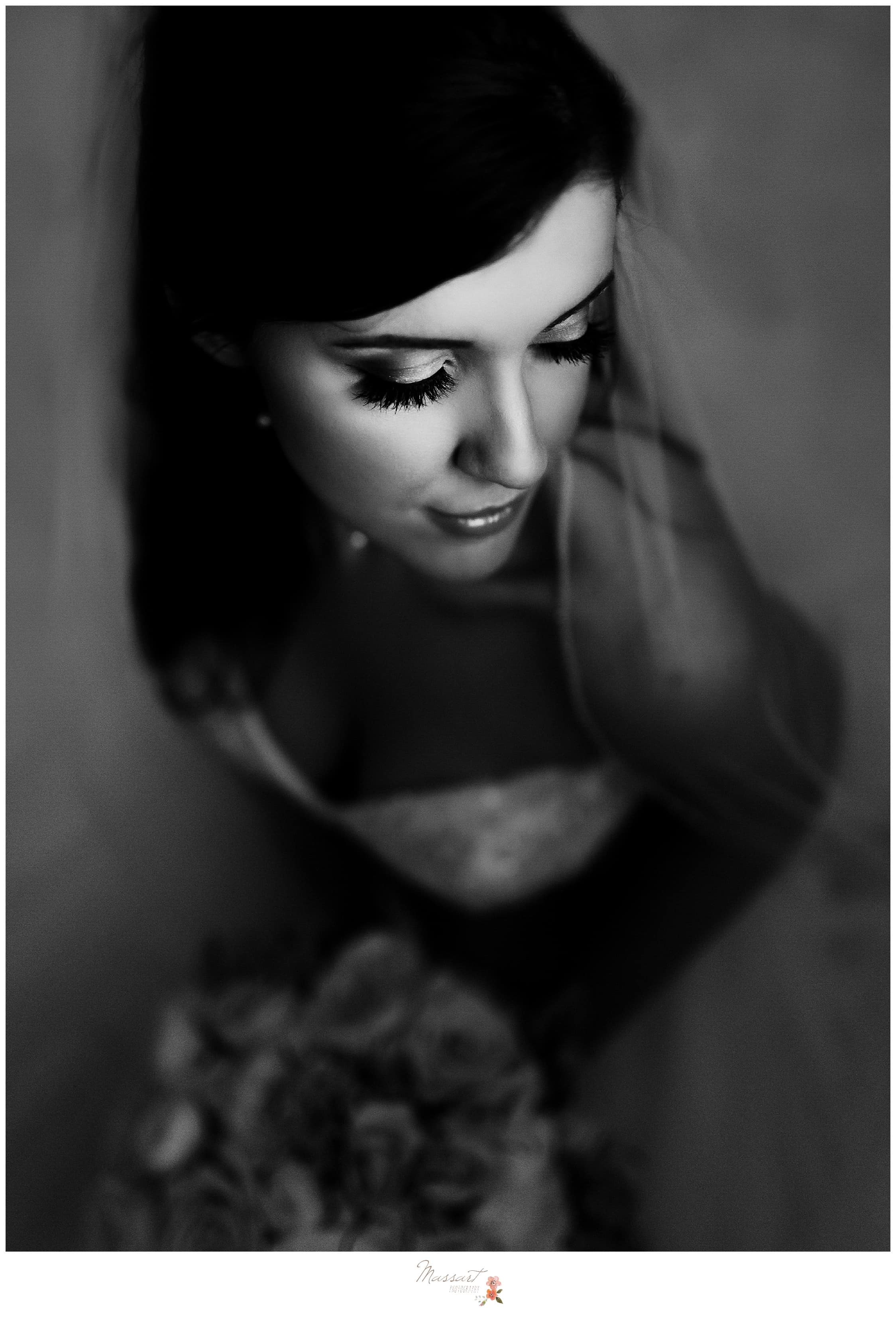 Black and white portrait of the bride with her veil on photographed by Massart Photography RI