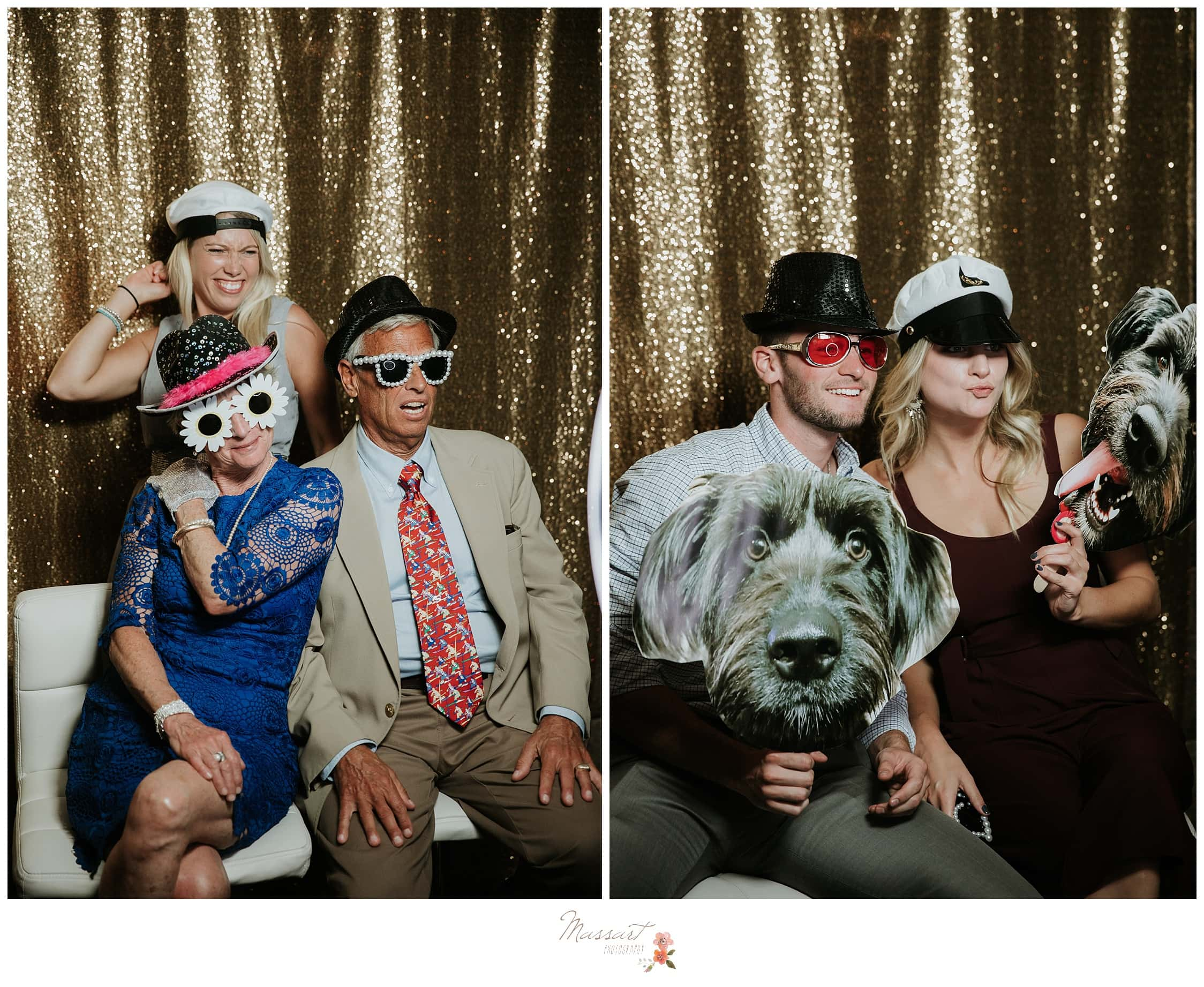 Guests use the photo booth at the wedding reception photographed by Massart Photography RI