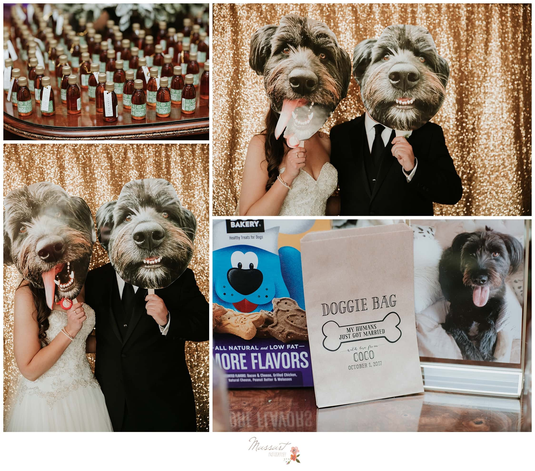 Wedding reception favors featuring the bride and groom's dog photographed by Massart Photography of Warwick, Rhode Island