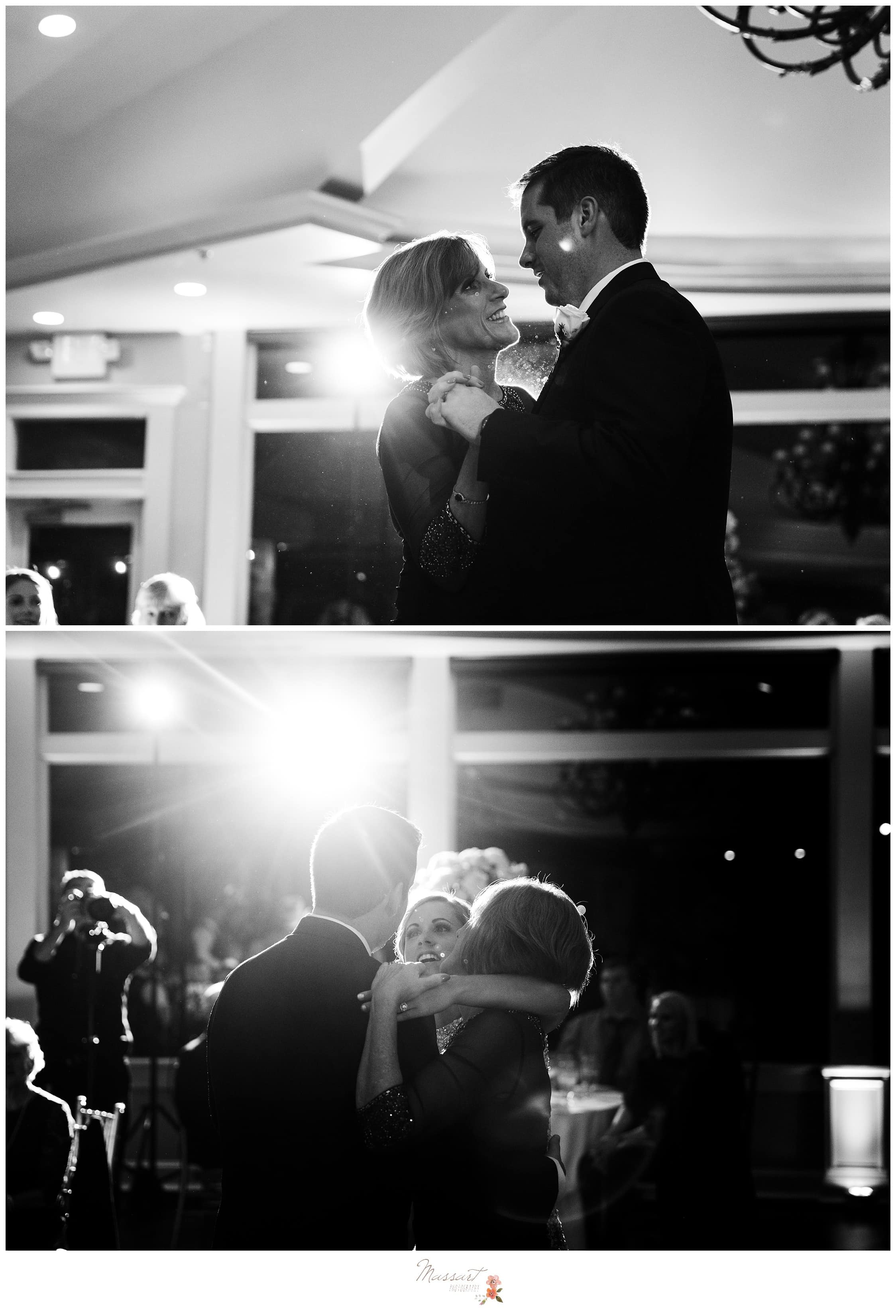 Mother and son dance together with the groom's sister photographed by Massart Photography RI