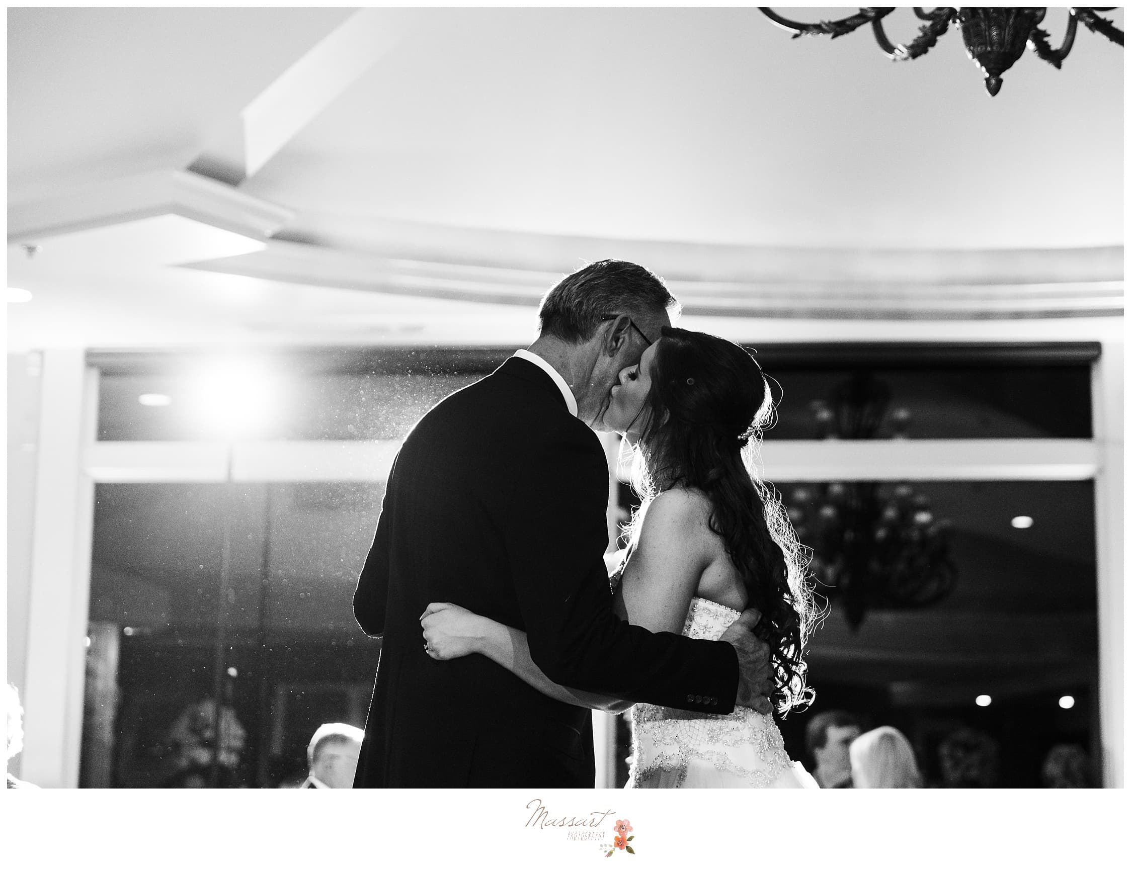 Father and daughter dance at the Ocean Cliff wedding reception photographed by Massart Photography RI