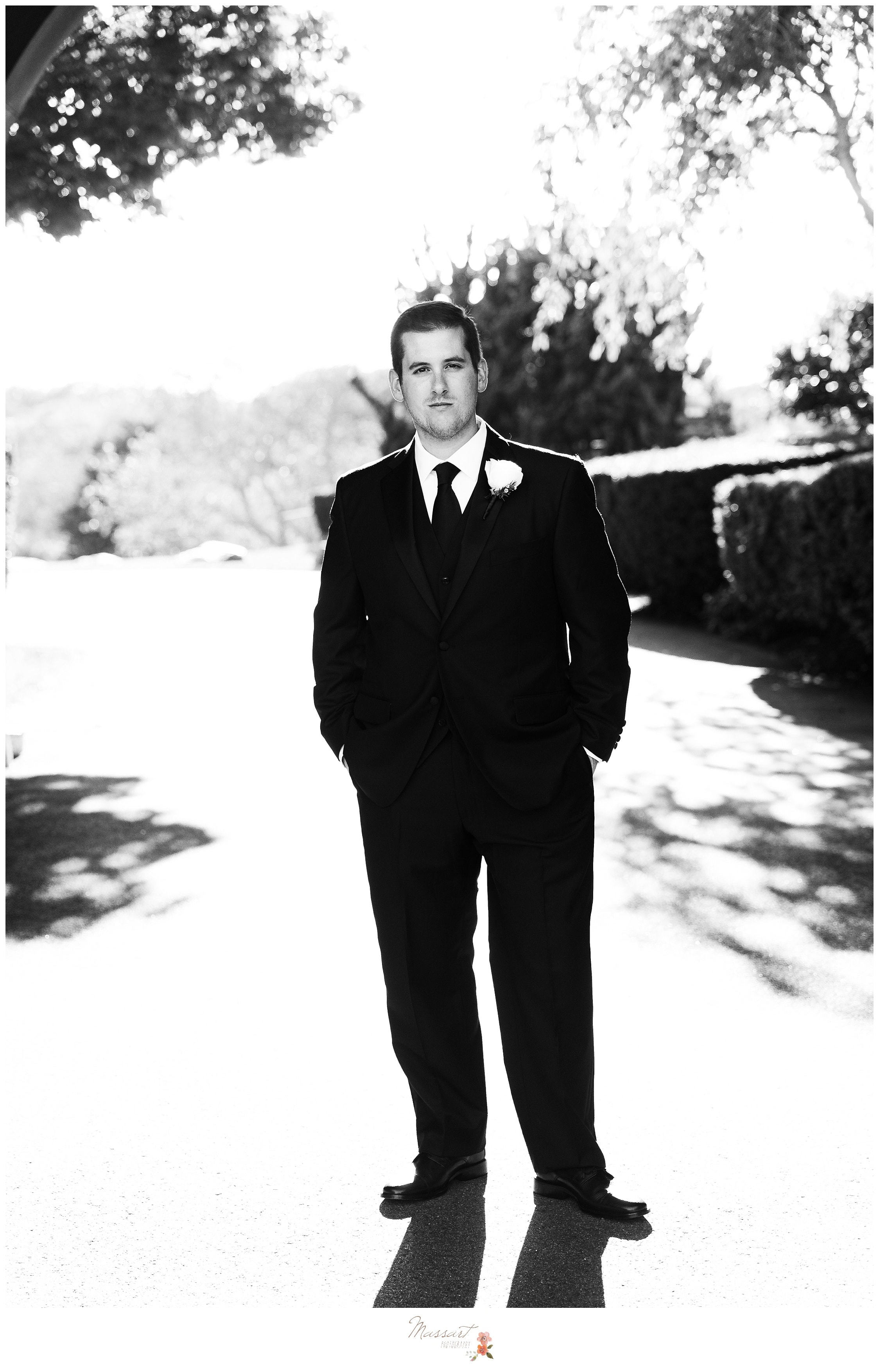 Black and white portrait of the groom photographed by Massart Photography RI