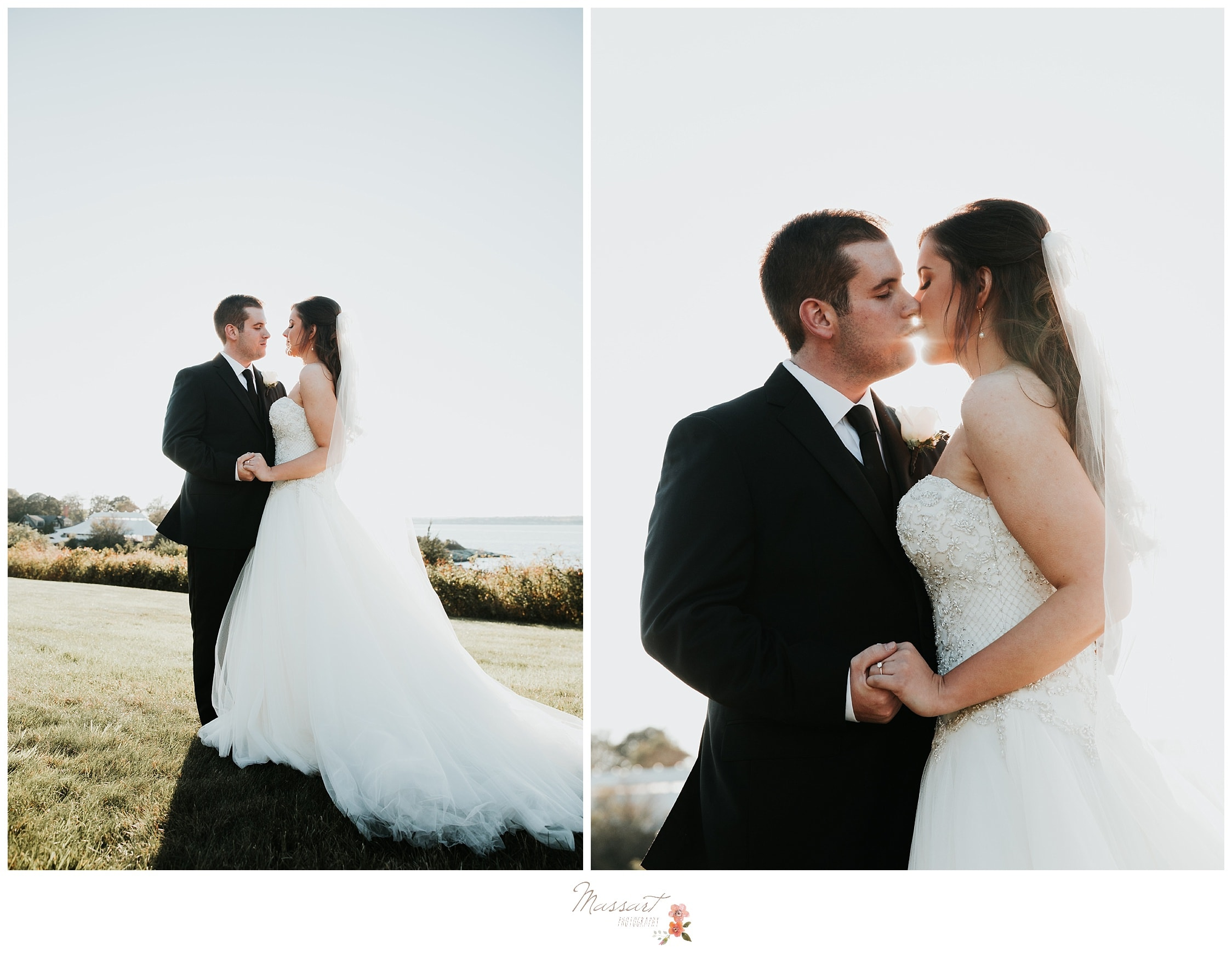 Formal portraits before the Ocean Cliff wedding ceremony in the sunlight photographed by Massart Photography RI