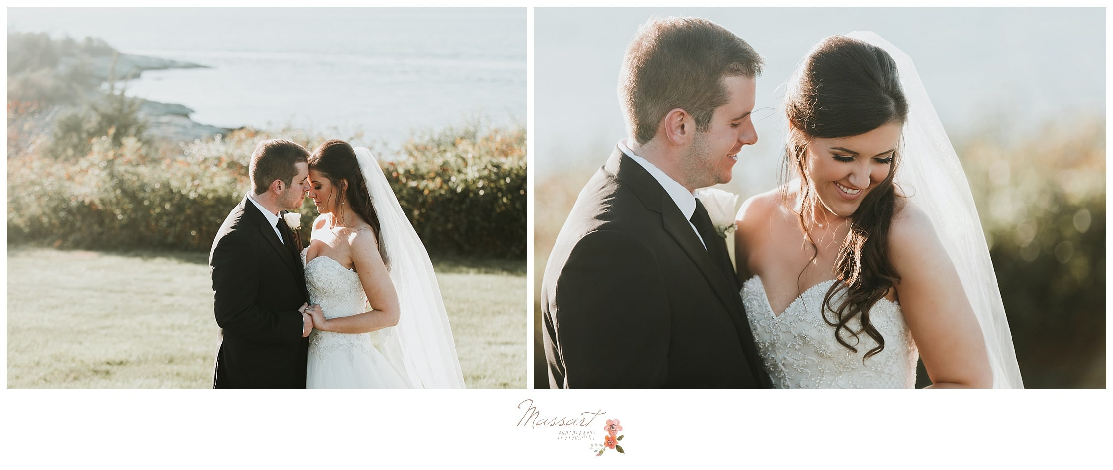Groom looks lovingly at his bride photographed by Massart Photography Rhode Island