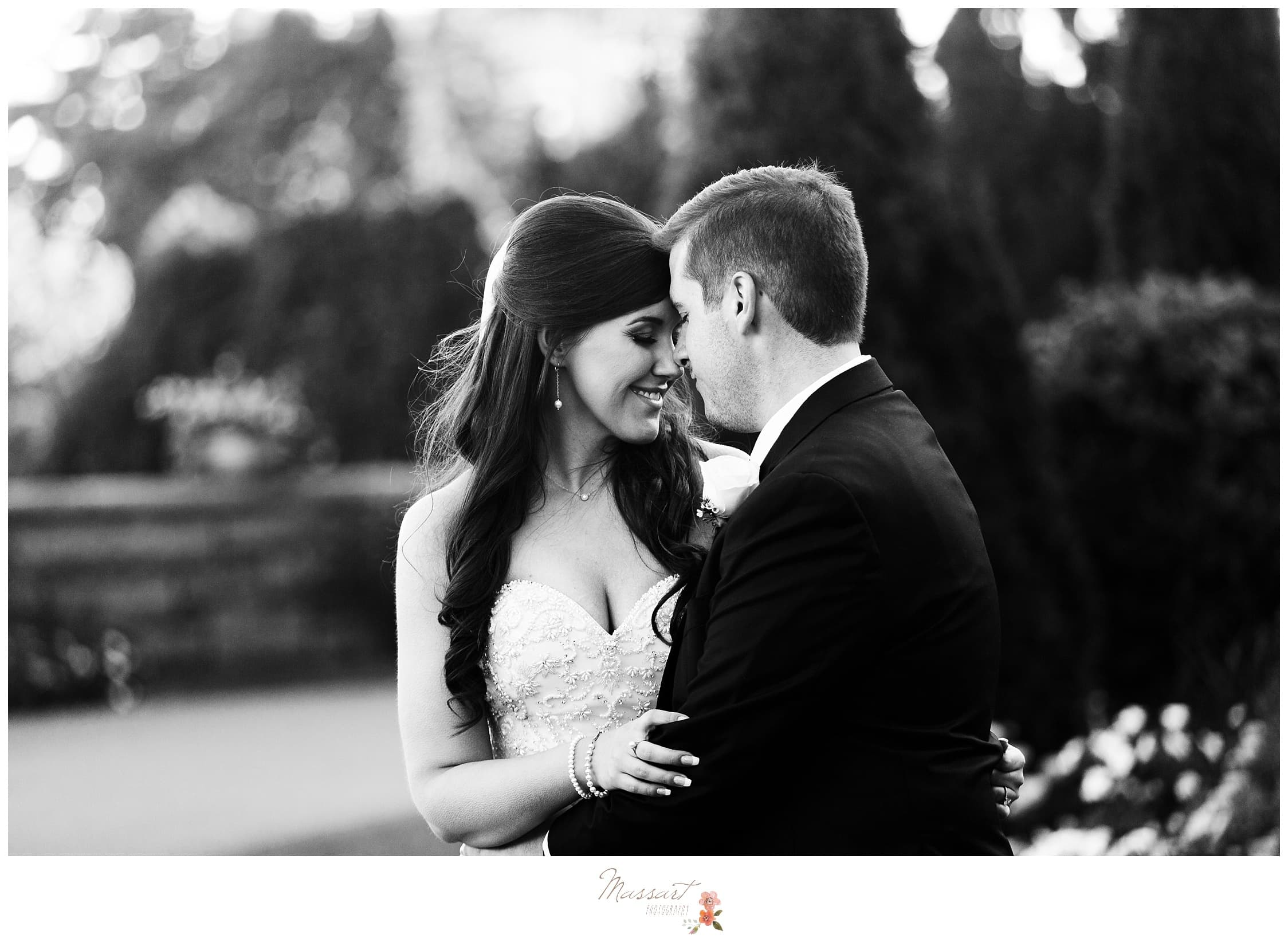 Black and white portrait of the bride and groom during their first look at Ocean Cliff photographed by Massart Photography RI