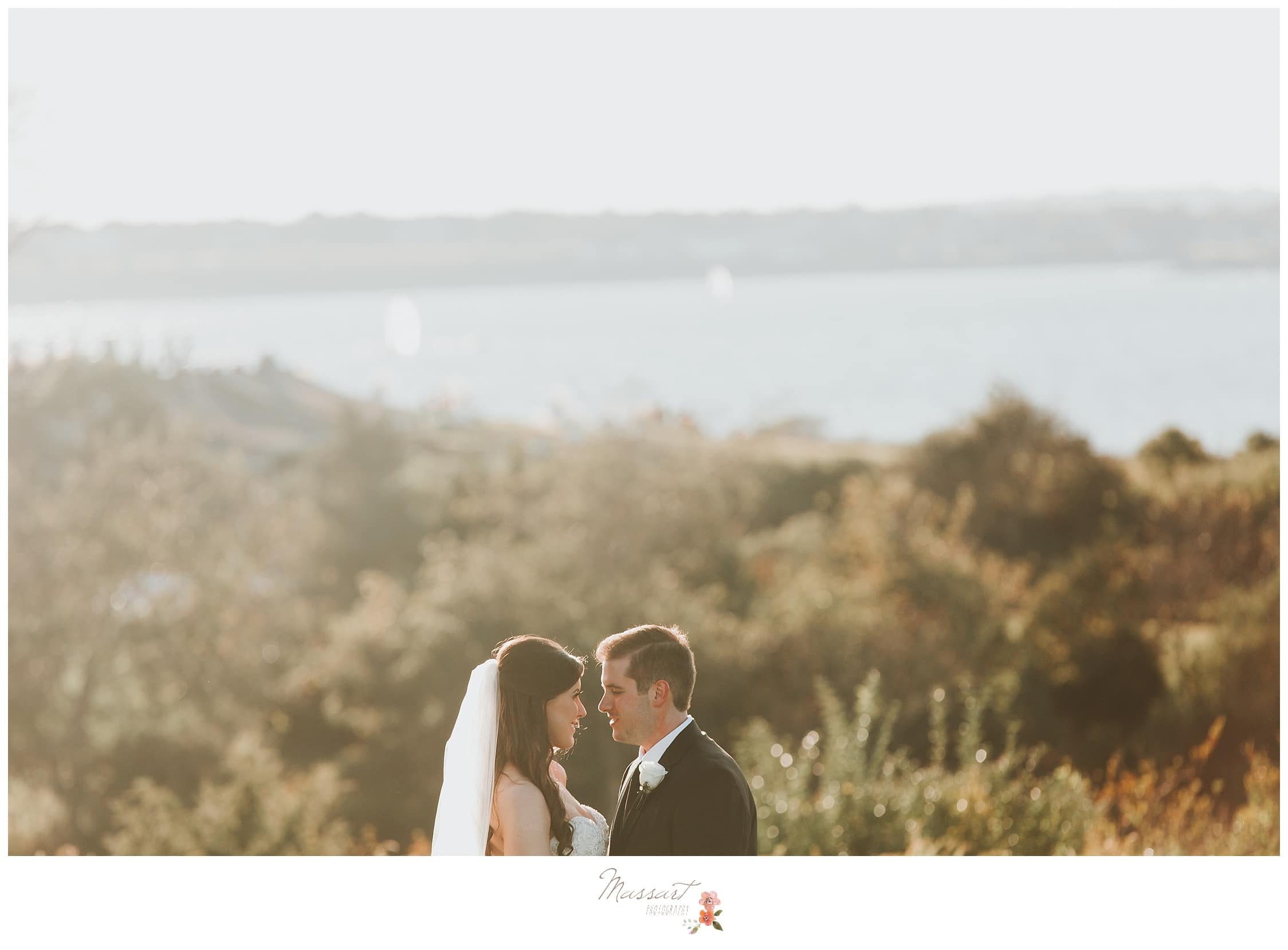 Formal portraits before the wedding ceremony overlooking the water photographed by Massart Photography RI