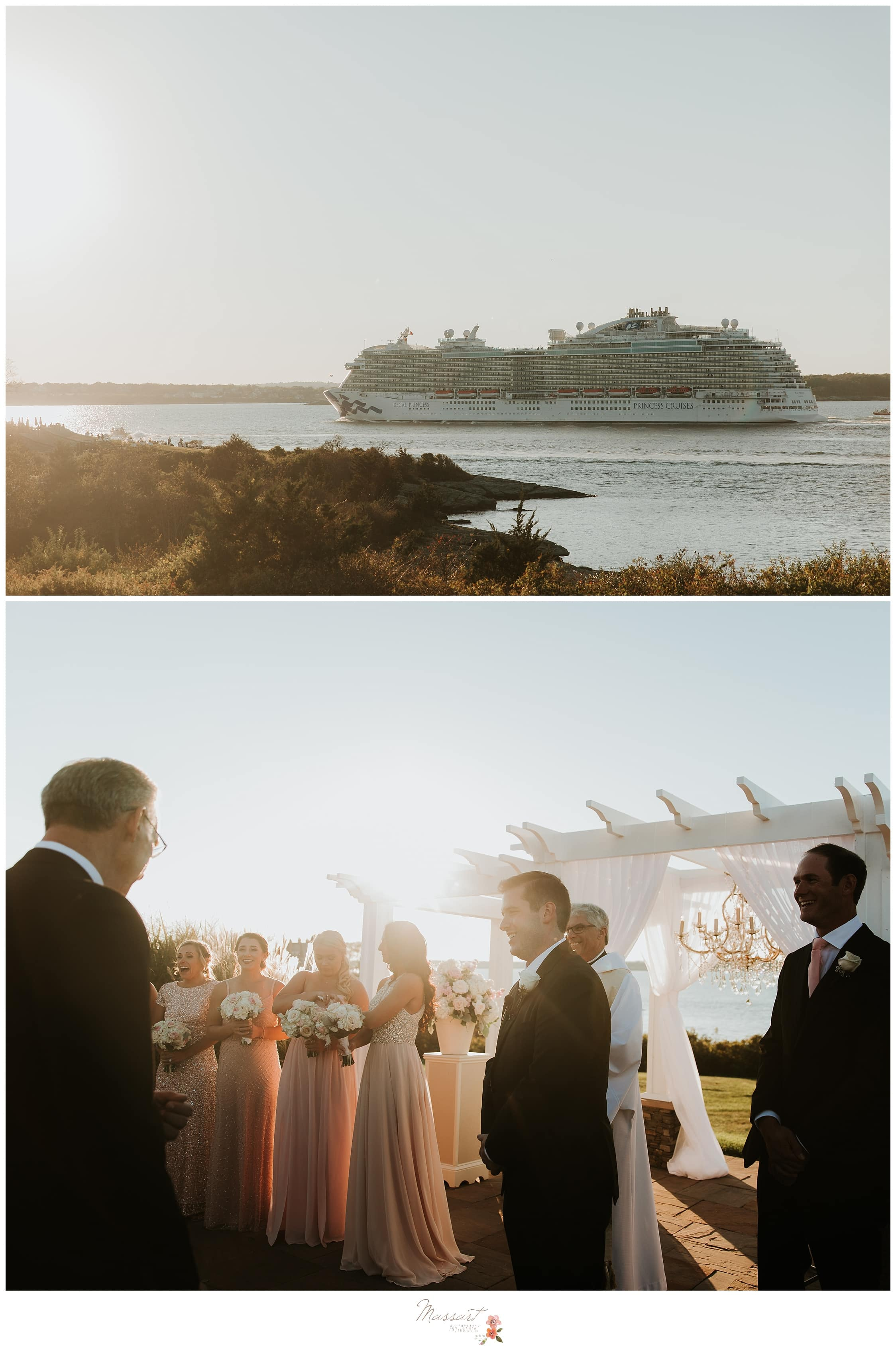 Cruise ship sails behind the ongoing wedding ceremony photographed by Massart Photography RI