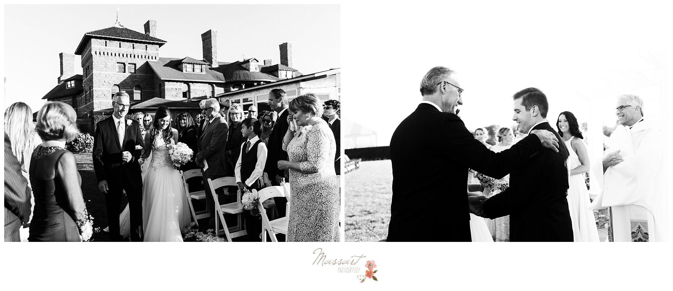 Father of the bride gives away his daughter to the groom photographed by Massart Photography RI