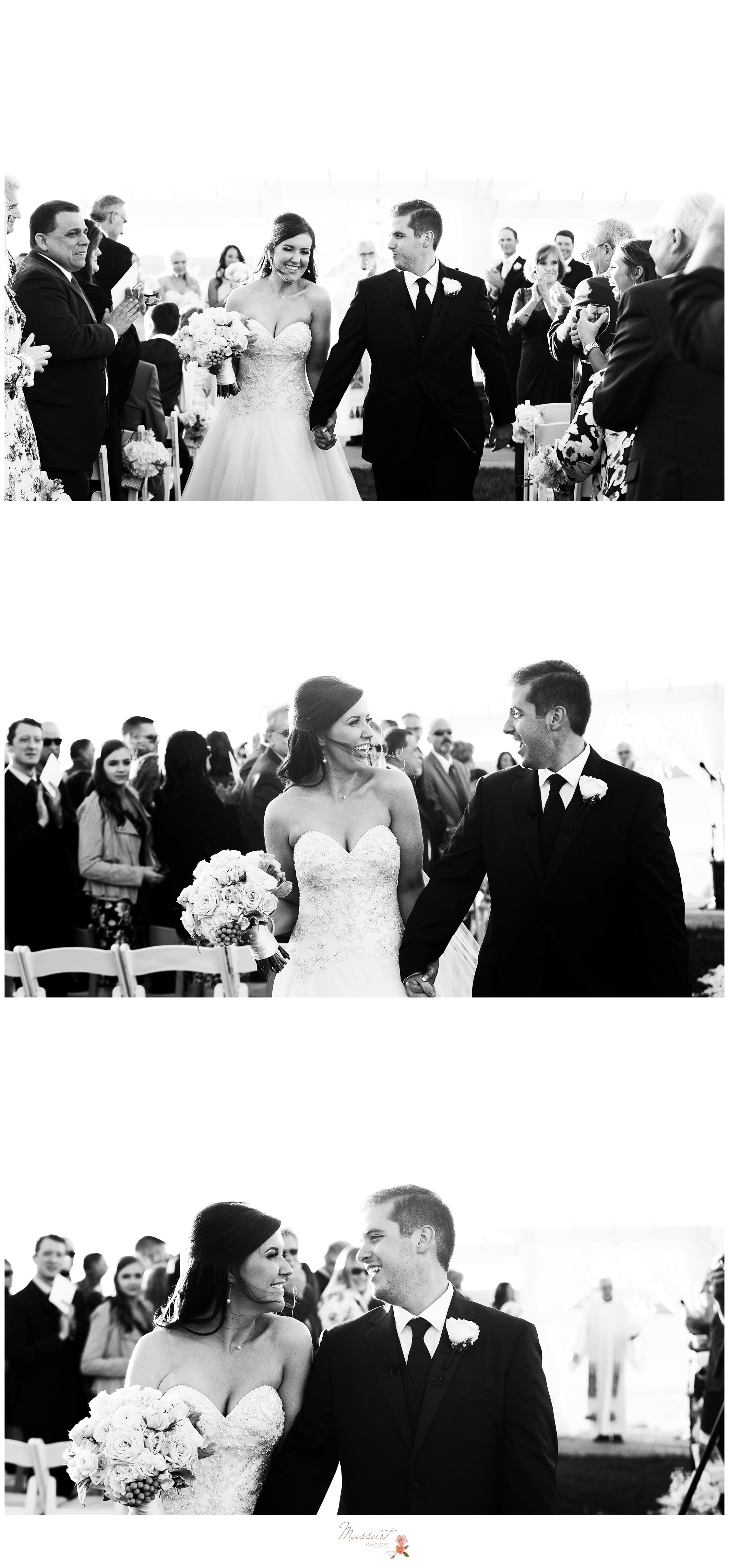 Black and white portraits of the bride and groom walking past their friends and family who came to see their wedding ceremony photographed by Massart Photography RI