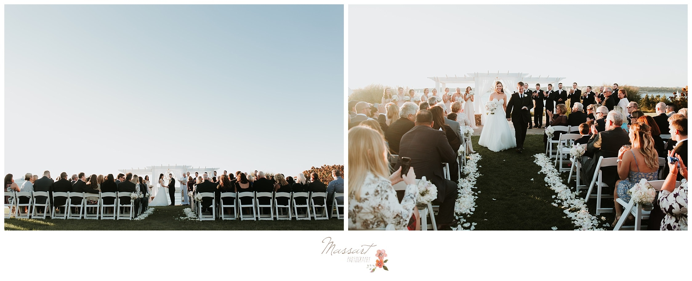 Wedding guests watch the wedding ceremony photographed by Massart Photography Rhode Island