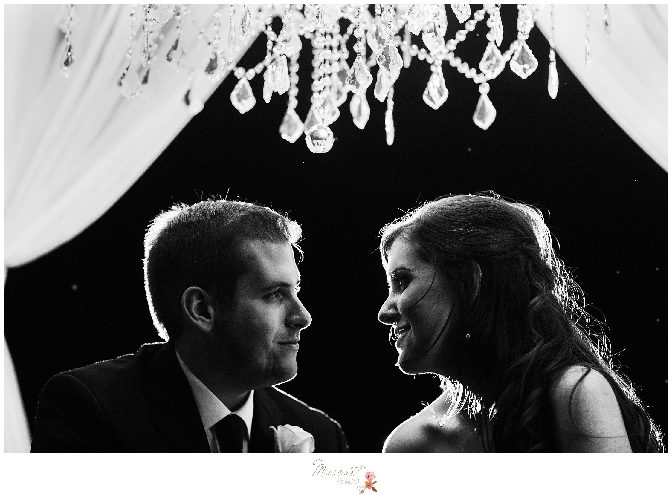 Bride and groom together after wedding reception photographed by Massart Photography RI