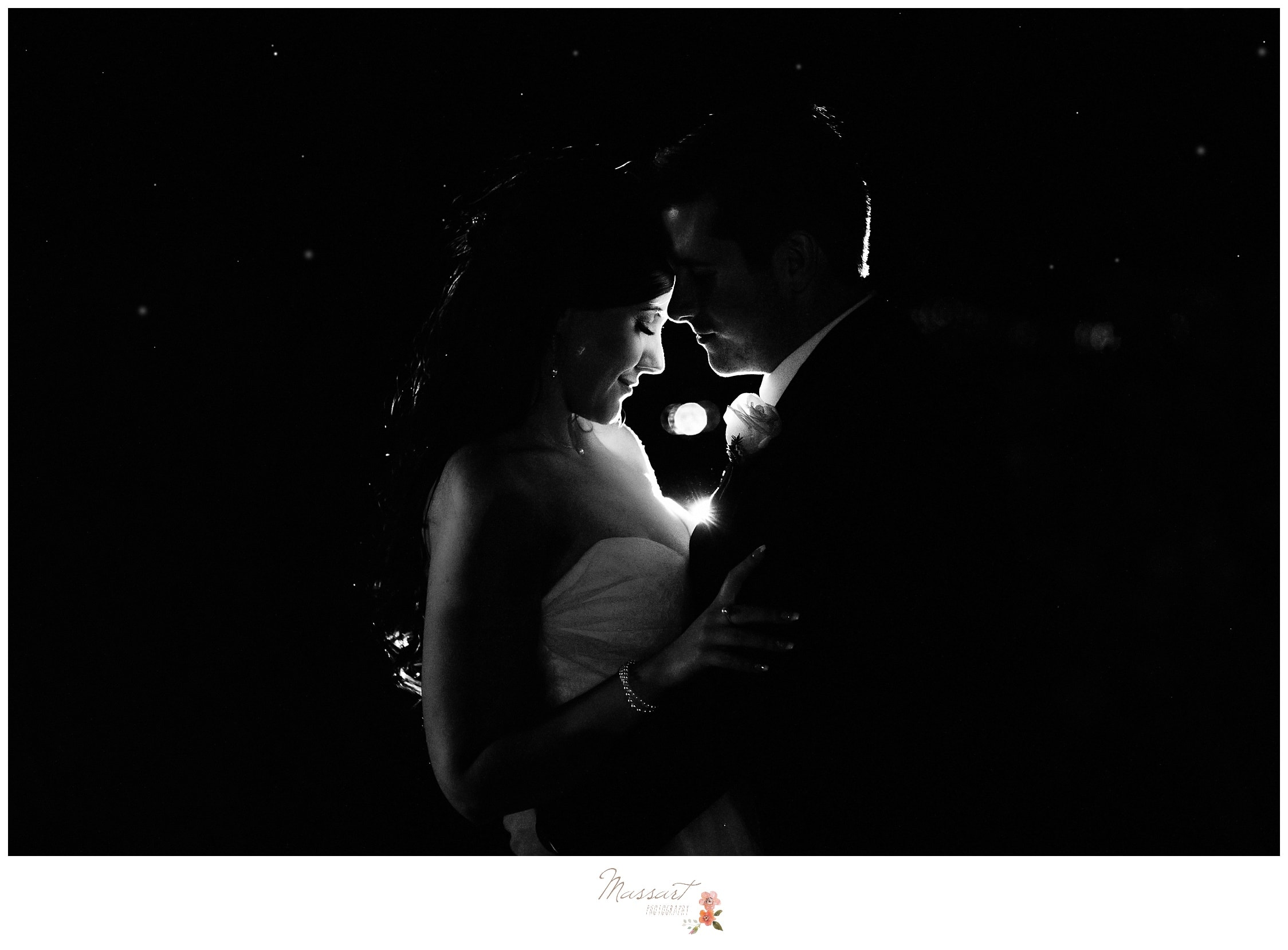 Grainy black and white portrait of the bride and groom with an Old Hollywood effect photographed by Massart Photography RI