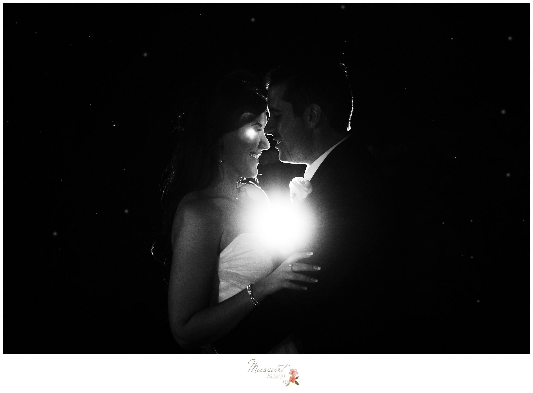 Romantic portrait of the bride and groom after their wedding day photographed by Massart Photography RI