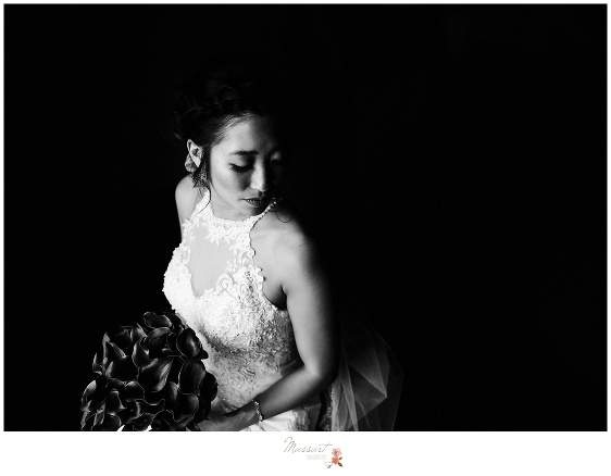 Formal black and white portrait of the bride after getting ready for her wedding day captured by Massart Photography RI