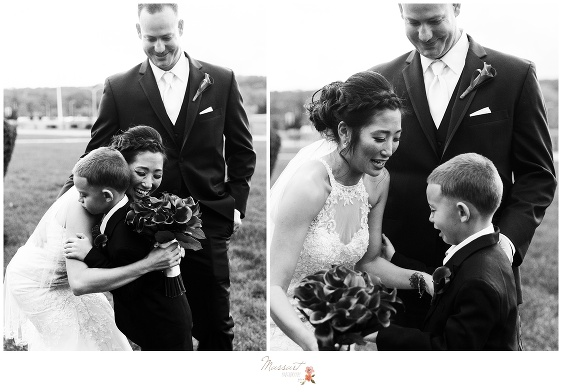 Groom watches as his new wife and his son share an emotional moment of pure happiness captured by Massart Photography rhode Island